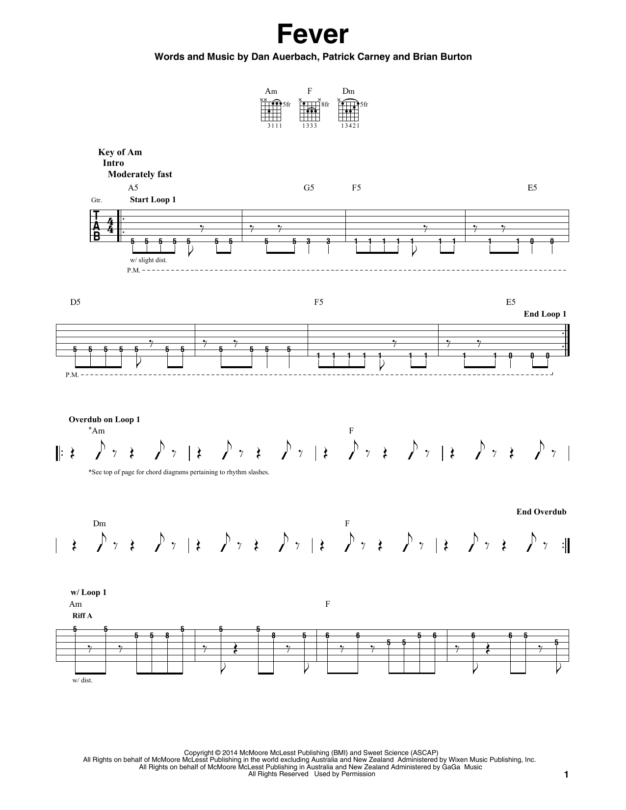 Fever (Guitar Lead Sheet)