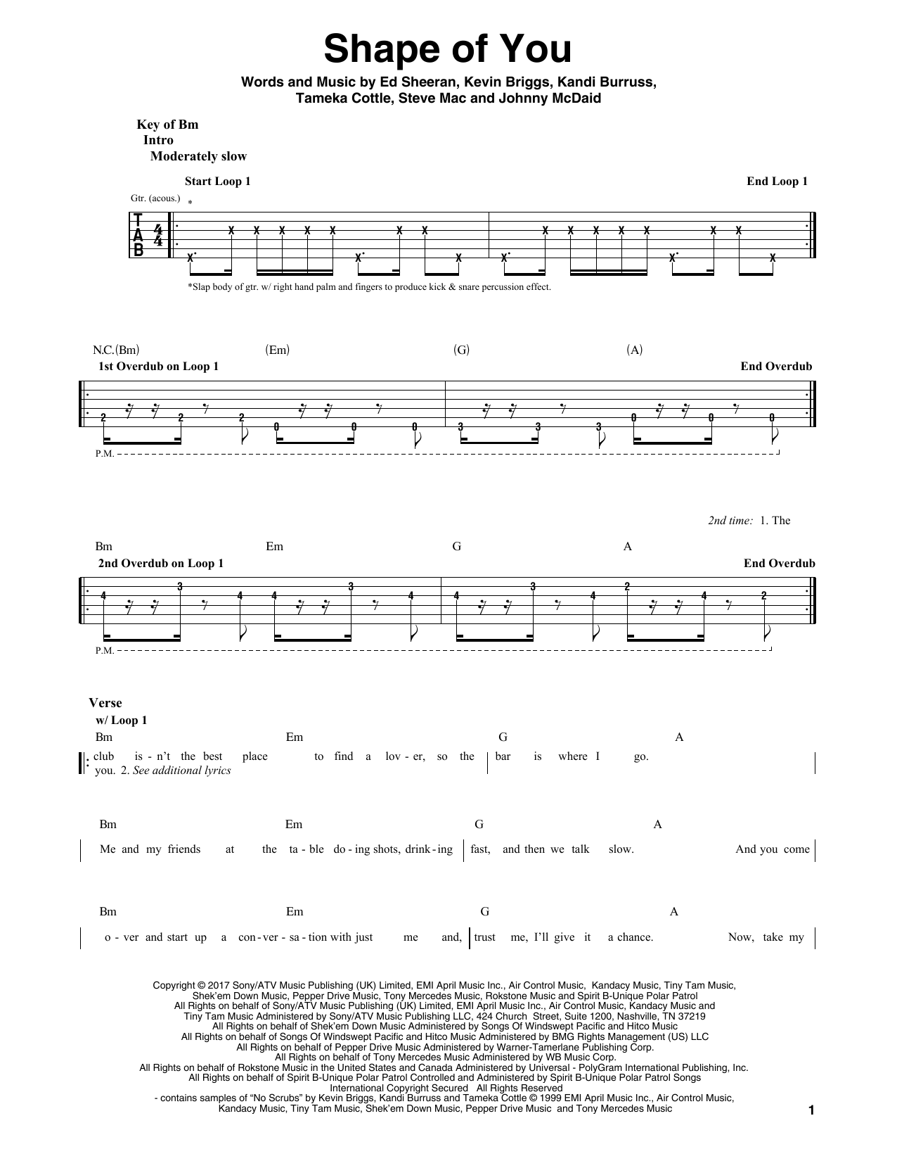 Shape Of You (Guitar Lead Sheet)
