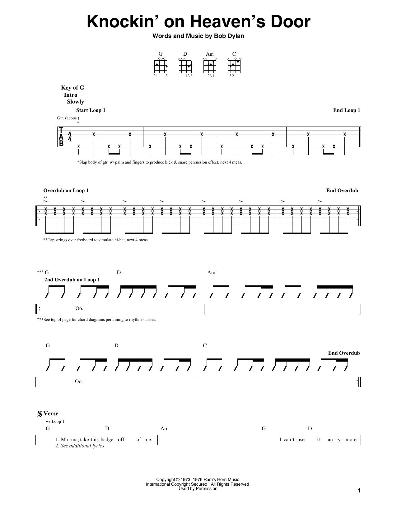 Knockin On Heavens Door Sheet Music By Eric Clapton Guitar Lead