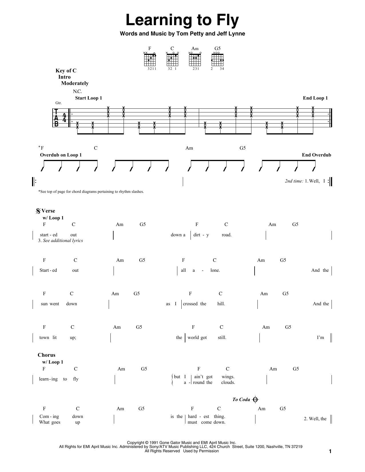 Learning To Fly (Guitar Lead Sheet)