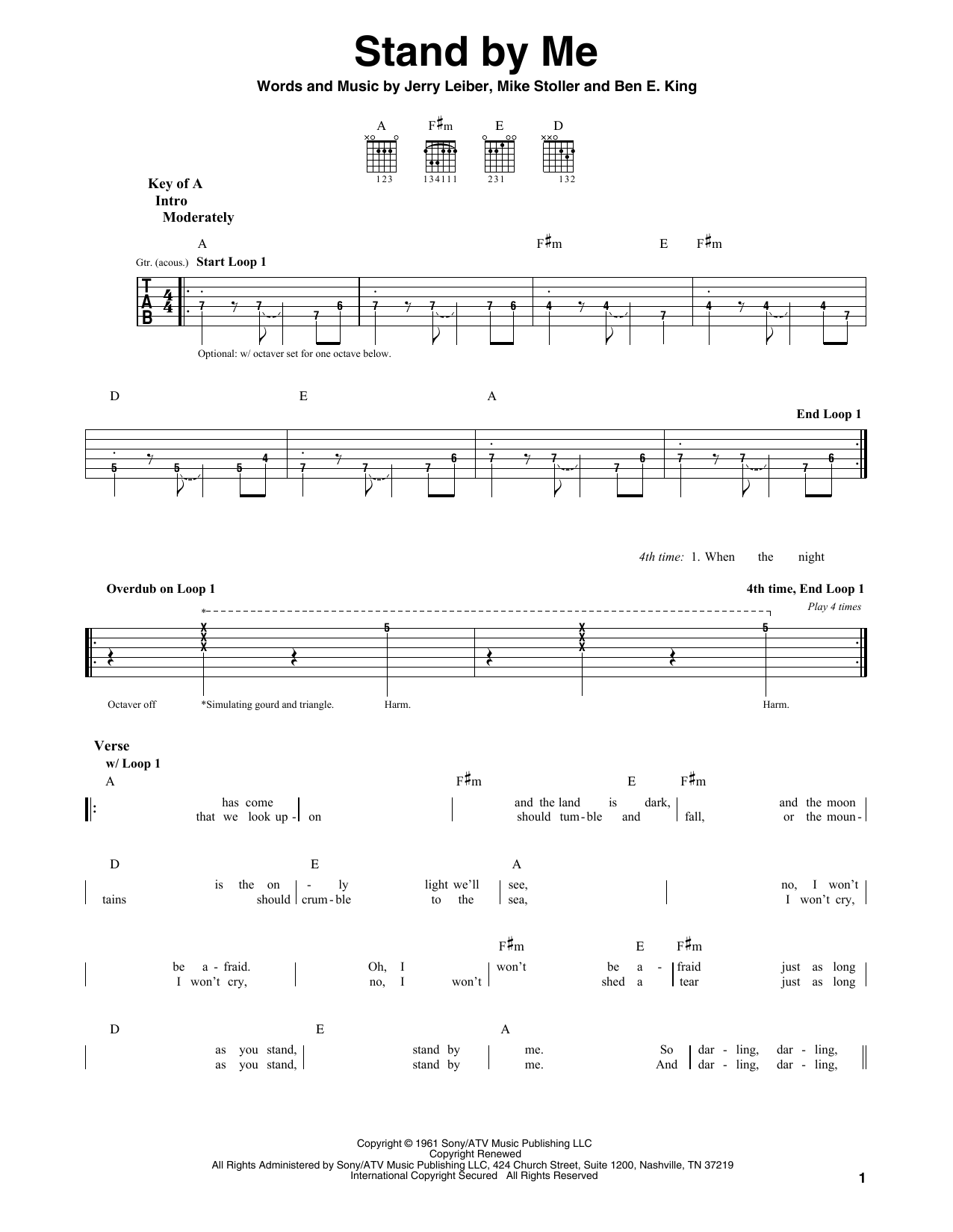 stand by me by ben e king guitar lead sheet guitar instructor. Black Bedroom Furniture Sets. Home Design Ideas