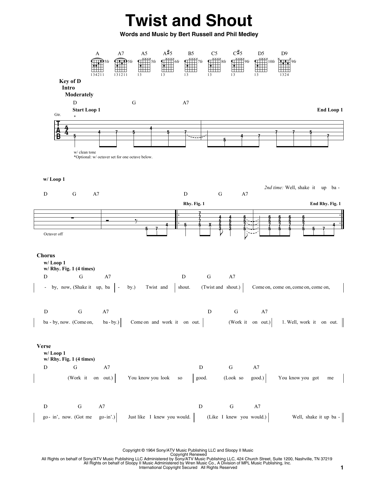 Twist And Shout (Guitar Lead Sheet)