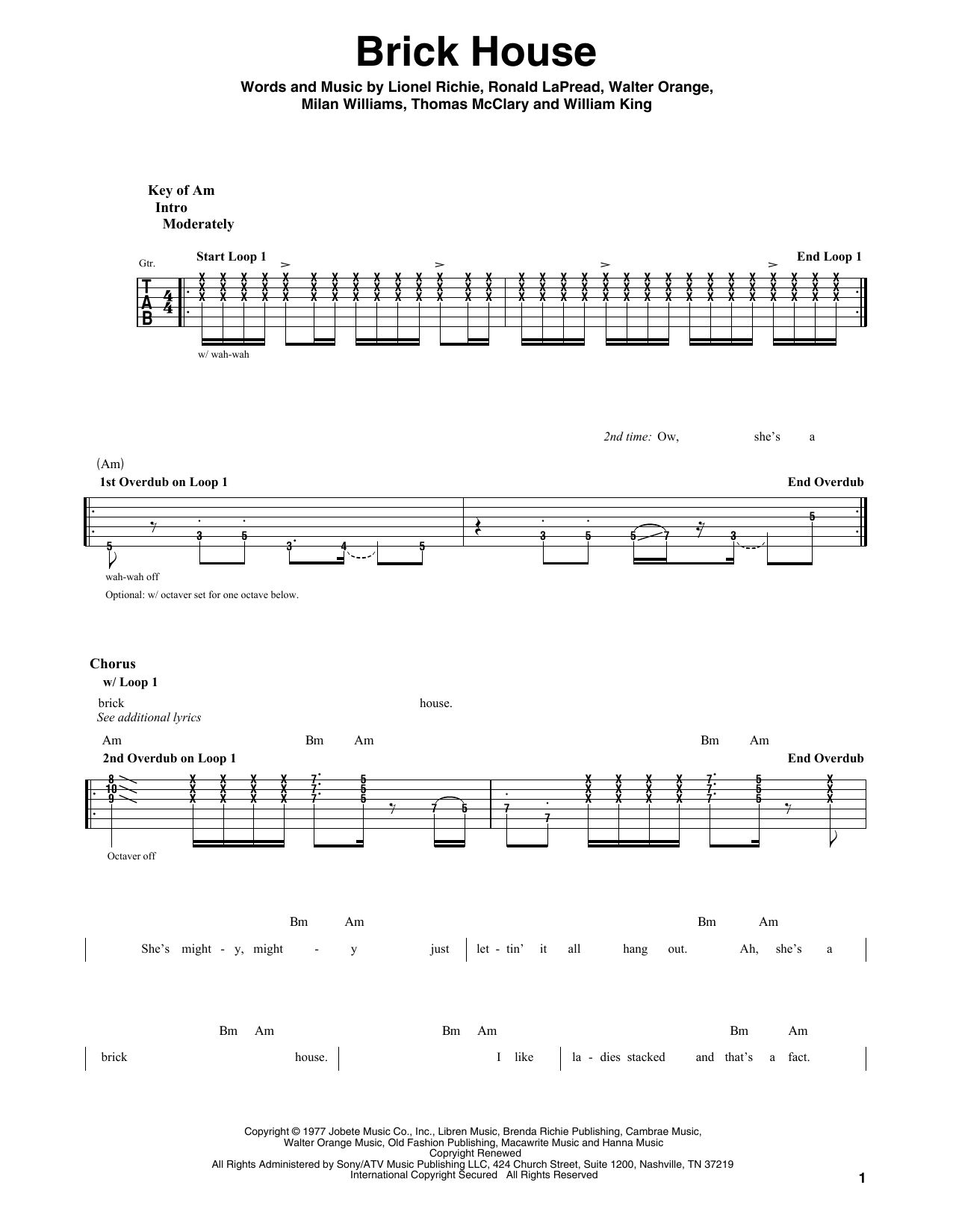 Brick House Sheet Music