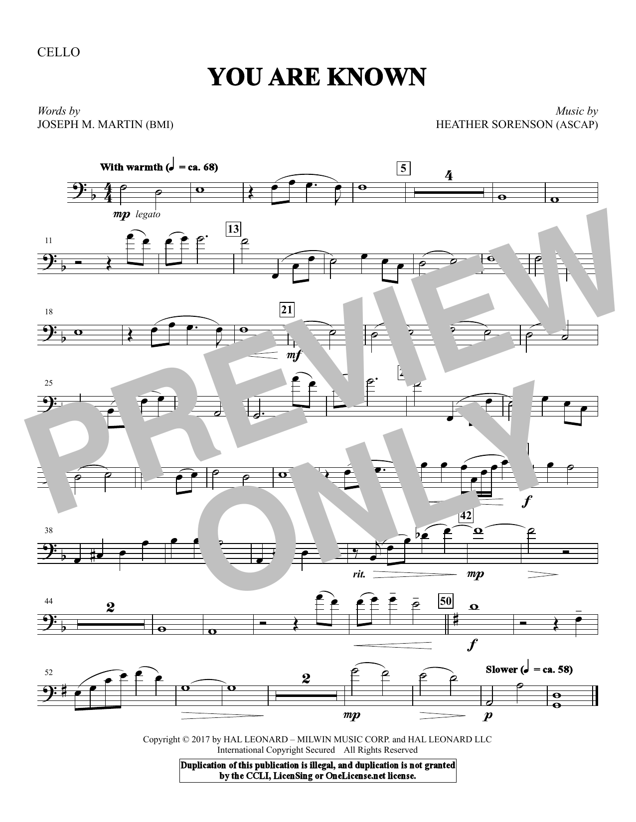 You Are Known - Cello (Choir Instrumental Pak)