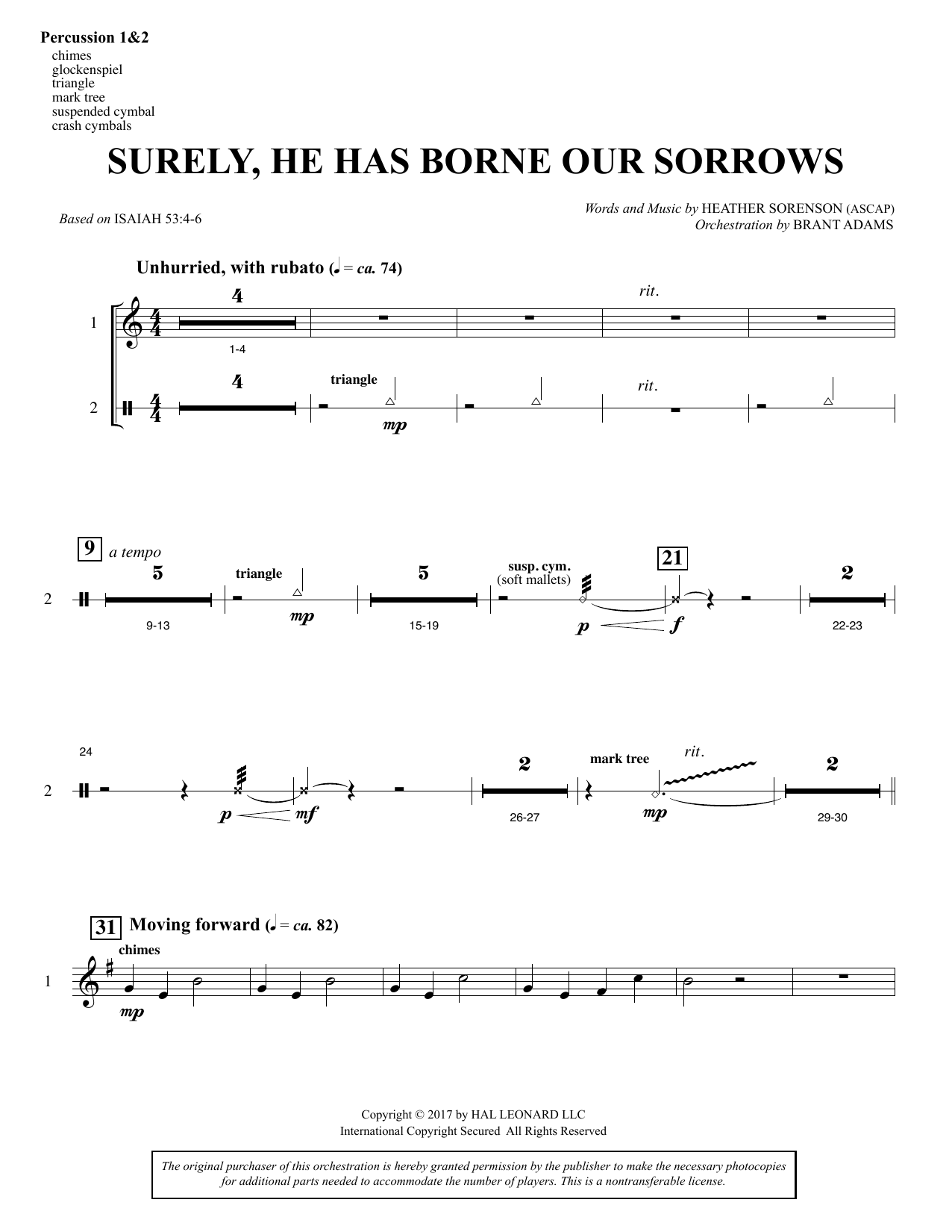 Surely, He Has Borne Our Sorrows - Percussion 1 & 2 (Choir Instrumental Pak)