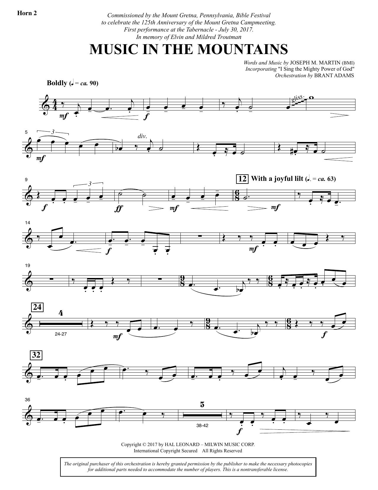 Music in the Mountains - F Horn 2 (Choir Instrumental Pak)