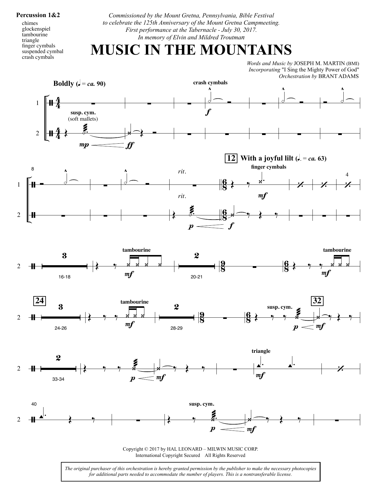 Music in the Mountains - Percussion 1 & 2 (Choir Instrumental Pak)