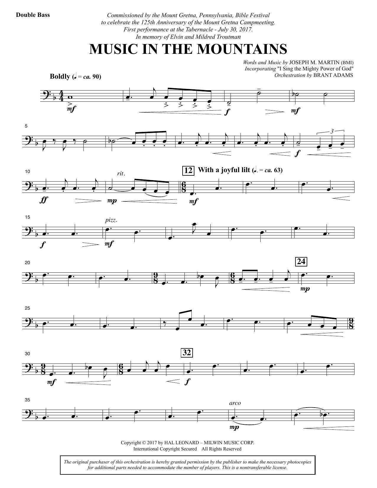 Music in the Mountains - Double Bass (Choir Instrumental Pak)