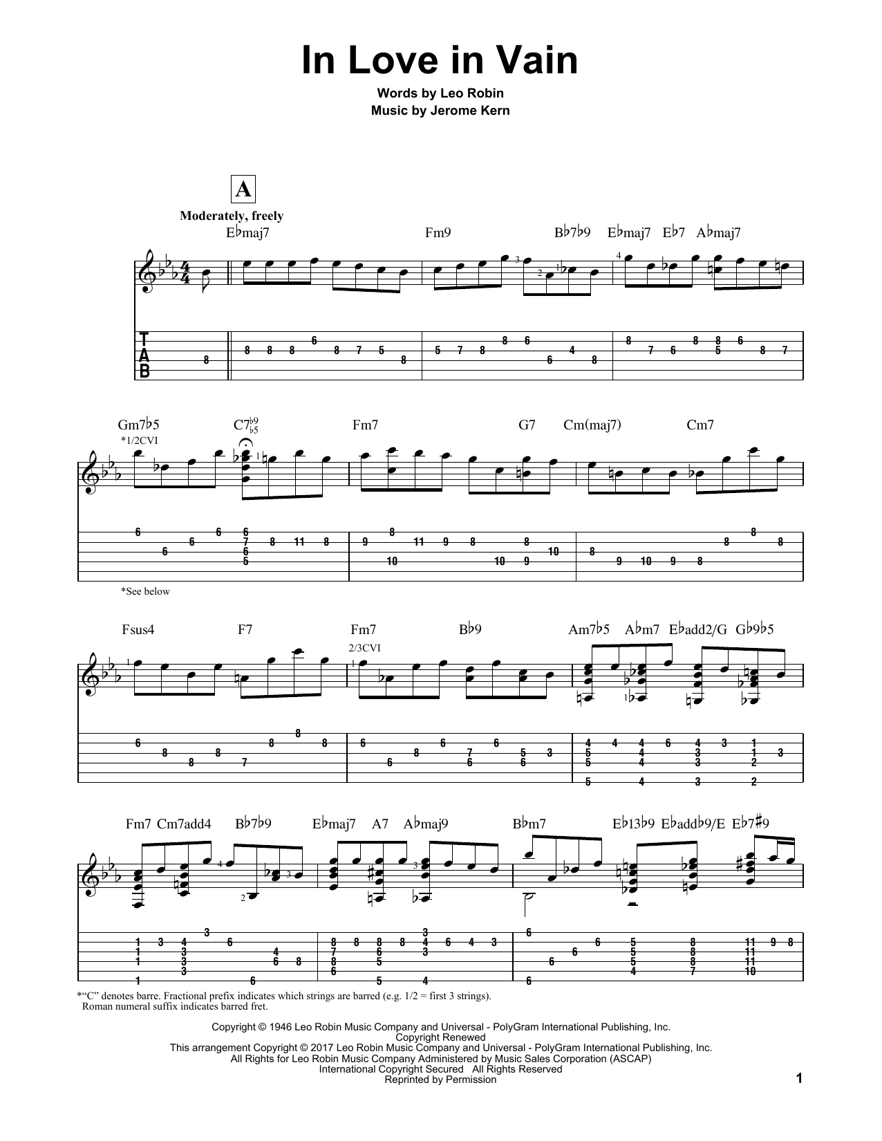 In Love In Vain Sheet Music