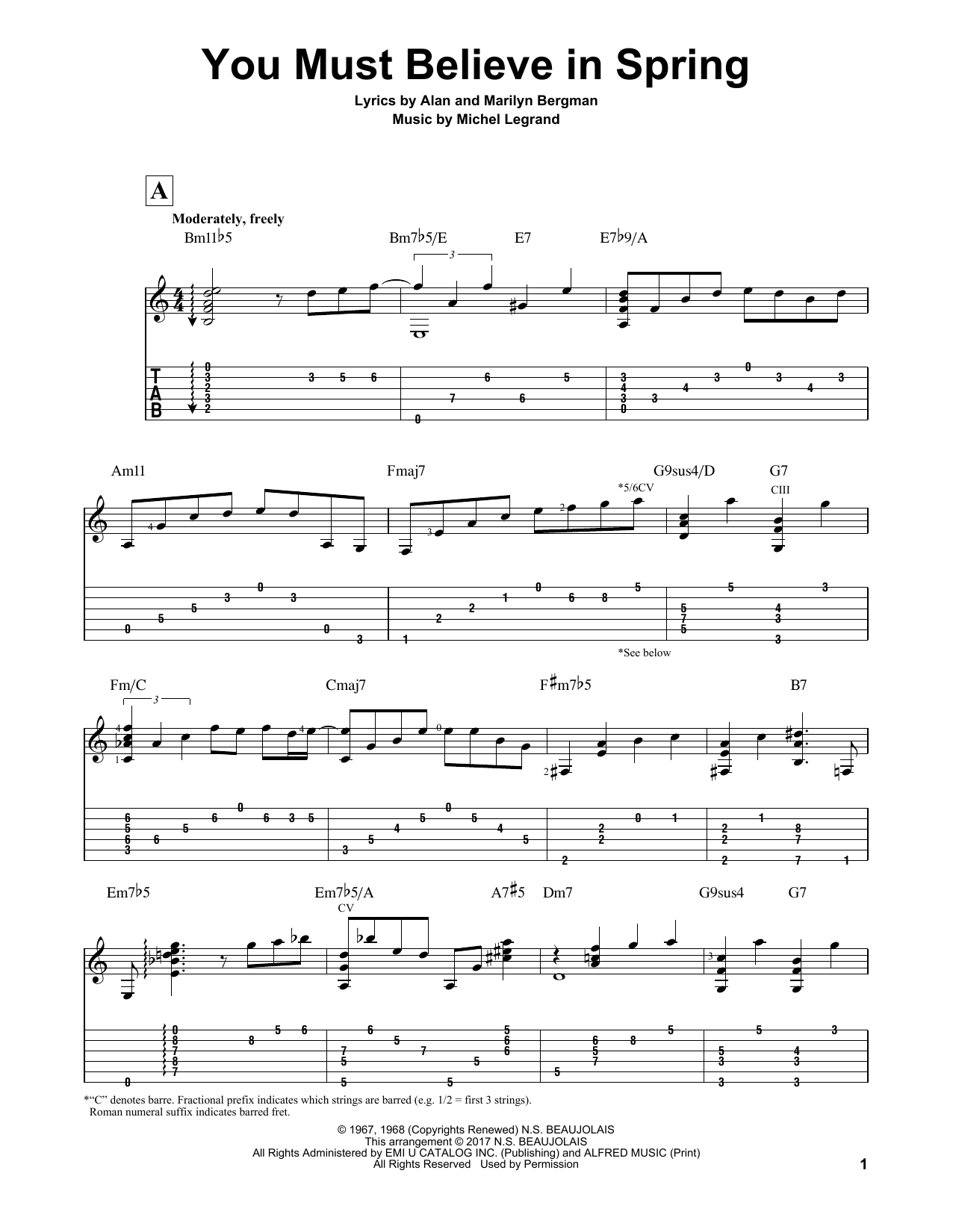 You Must Believe In Spring Sheet Music
