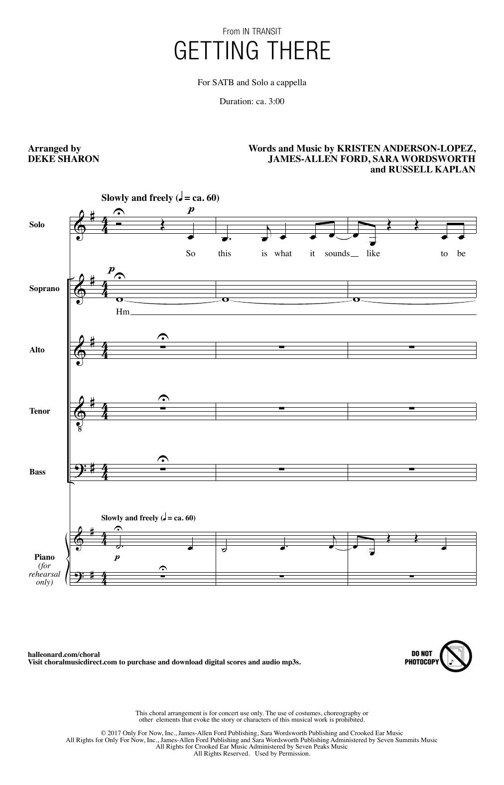 Getting There Sheet Music
