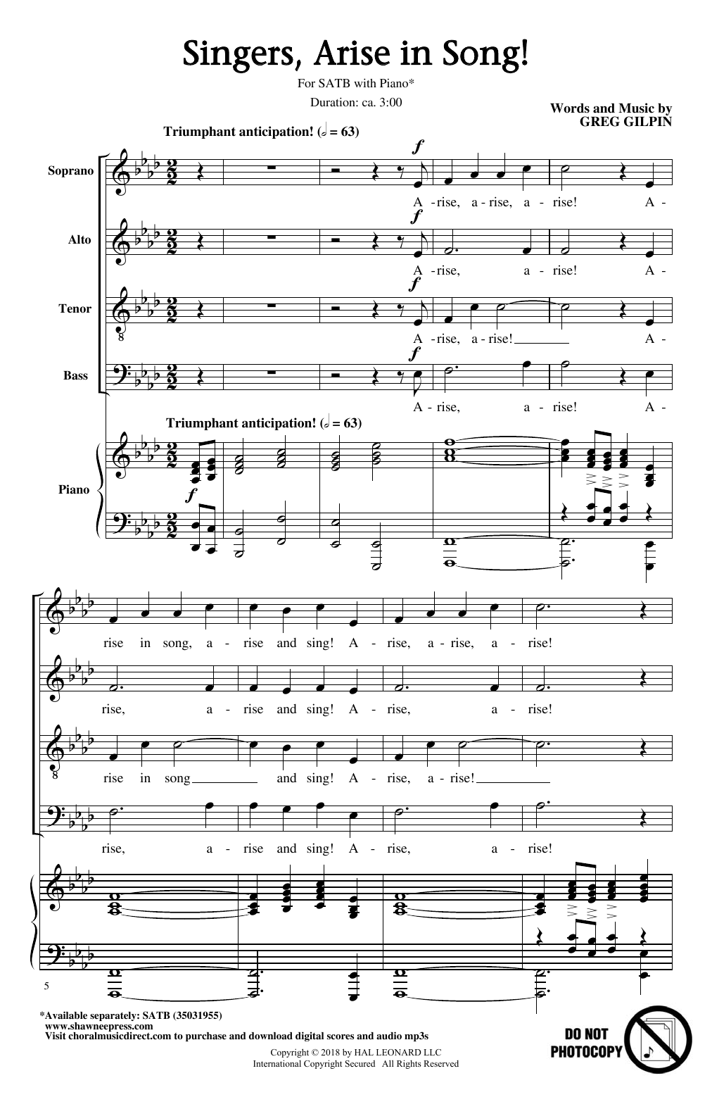 Singers, Arise In Song! (SATB Choir)