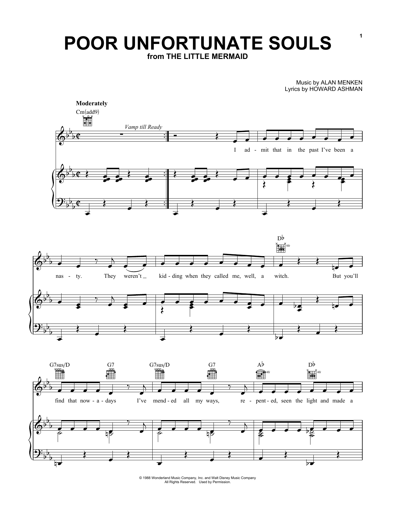 Poor Unfortunate Souls from The Little Mermaid Sheet Music   Alan Menken    Piano, Vocal & Guitar Right Hand Melody