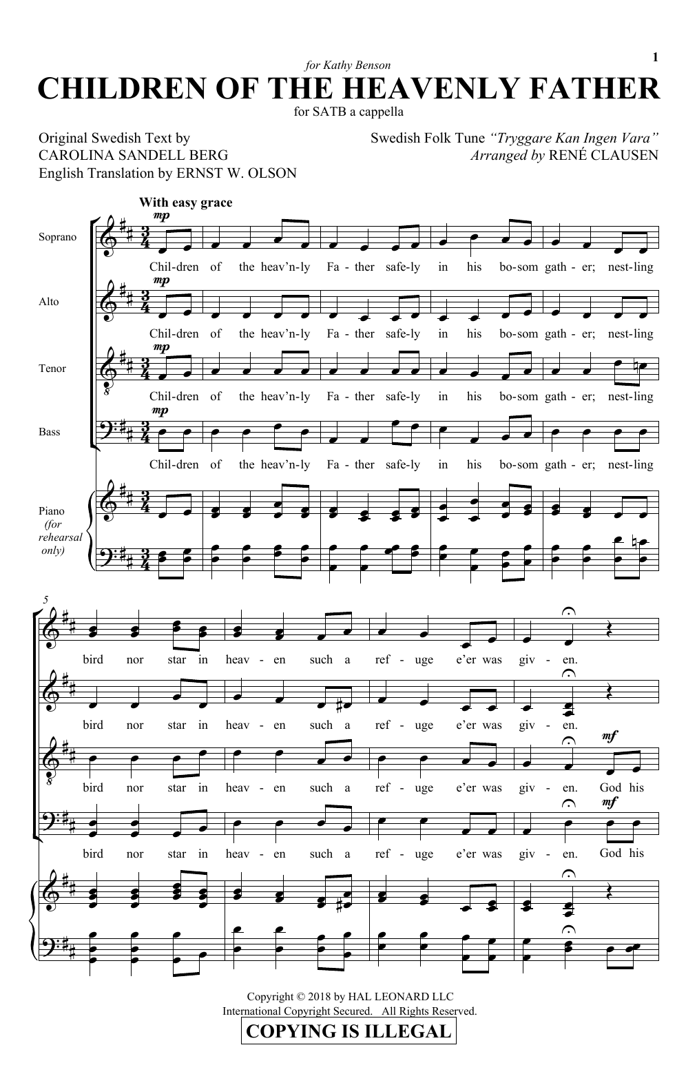 Children Of The Heavenly Father (SATB Choir)