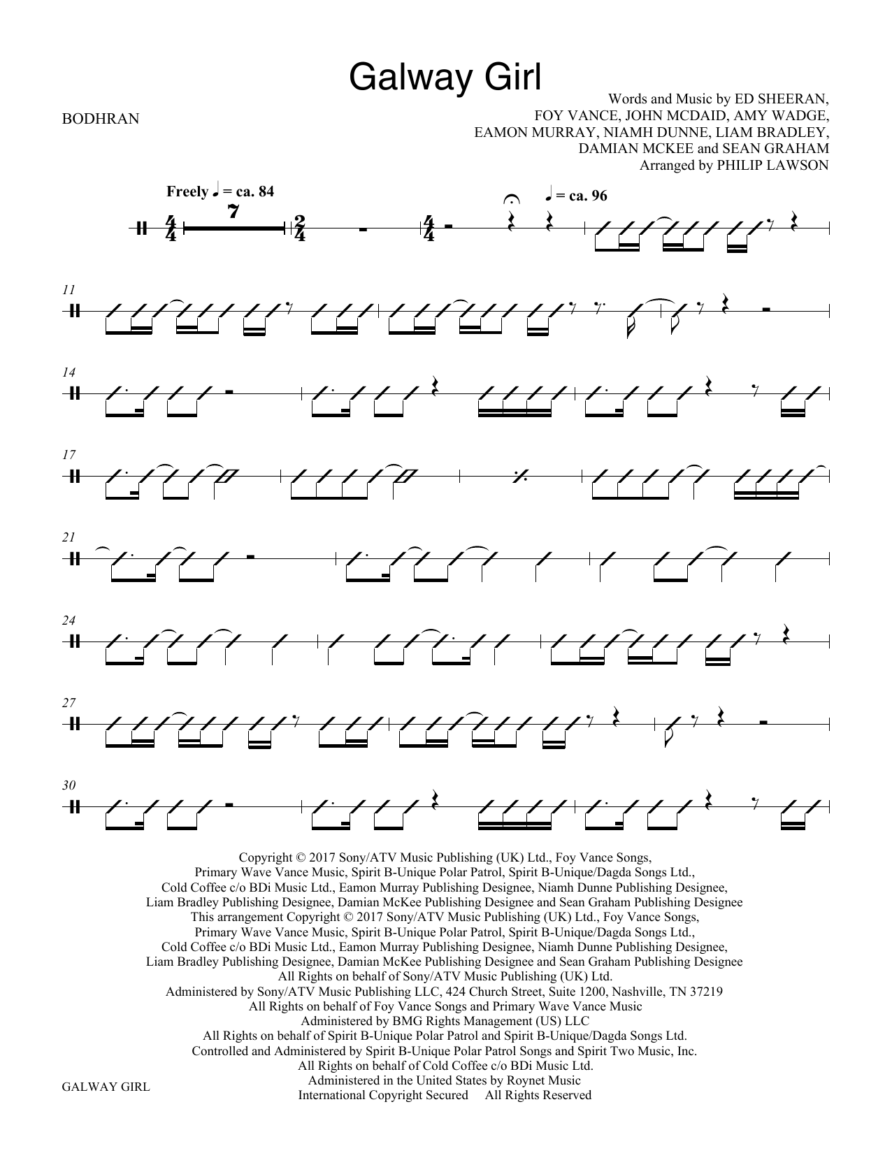 Galway Girl - Bodhran (Choir Instrumental Pak)