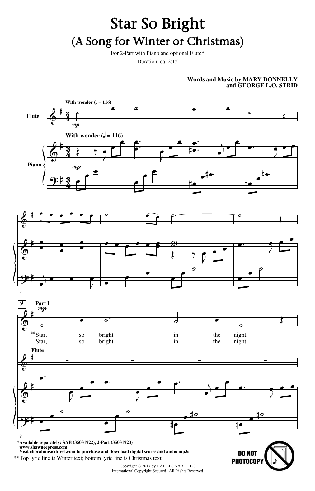 Star So Bright (A Song For Winter Or Christmas) Sheet Music