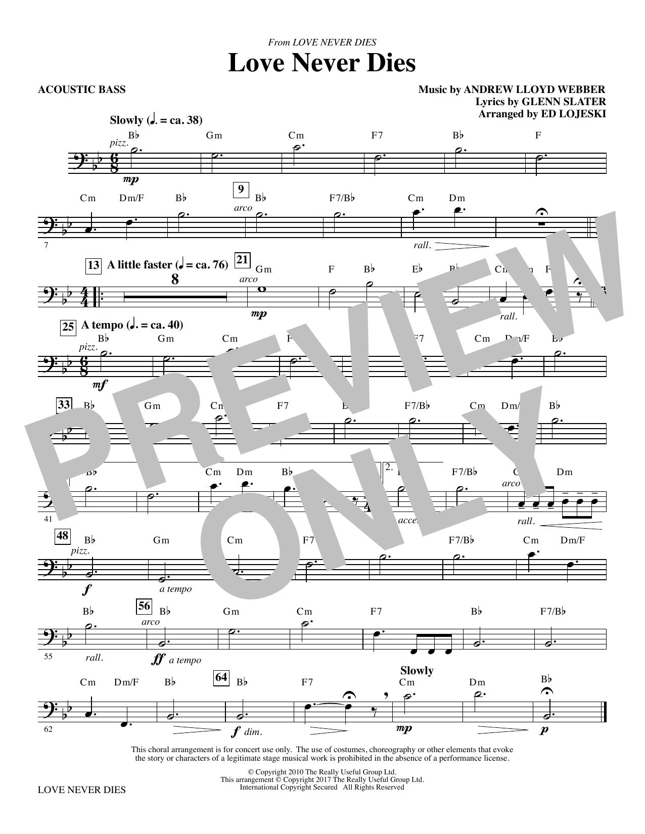 Love Never Dies - Acoustic Bass (Choir Instrumental Pak)