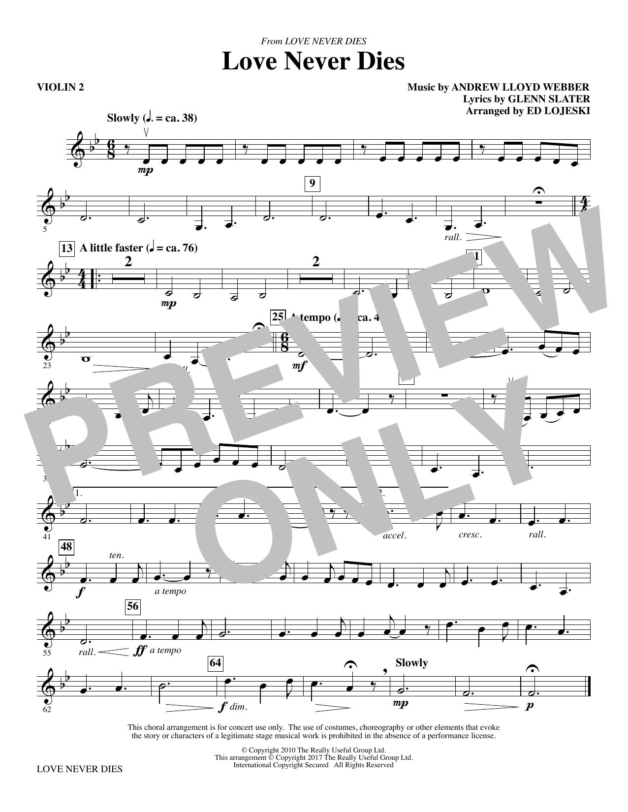 Love Never Dies - Violin 2 (Choir Instrumental Pak)