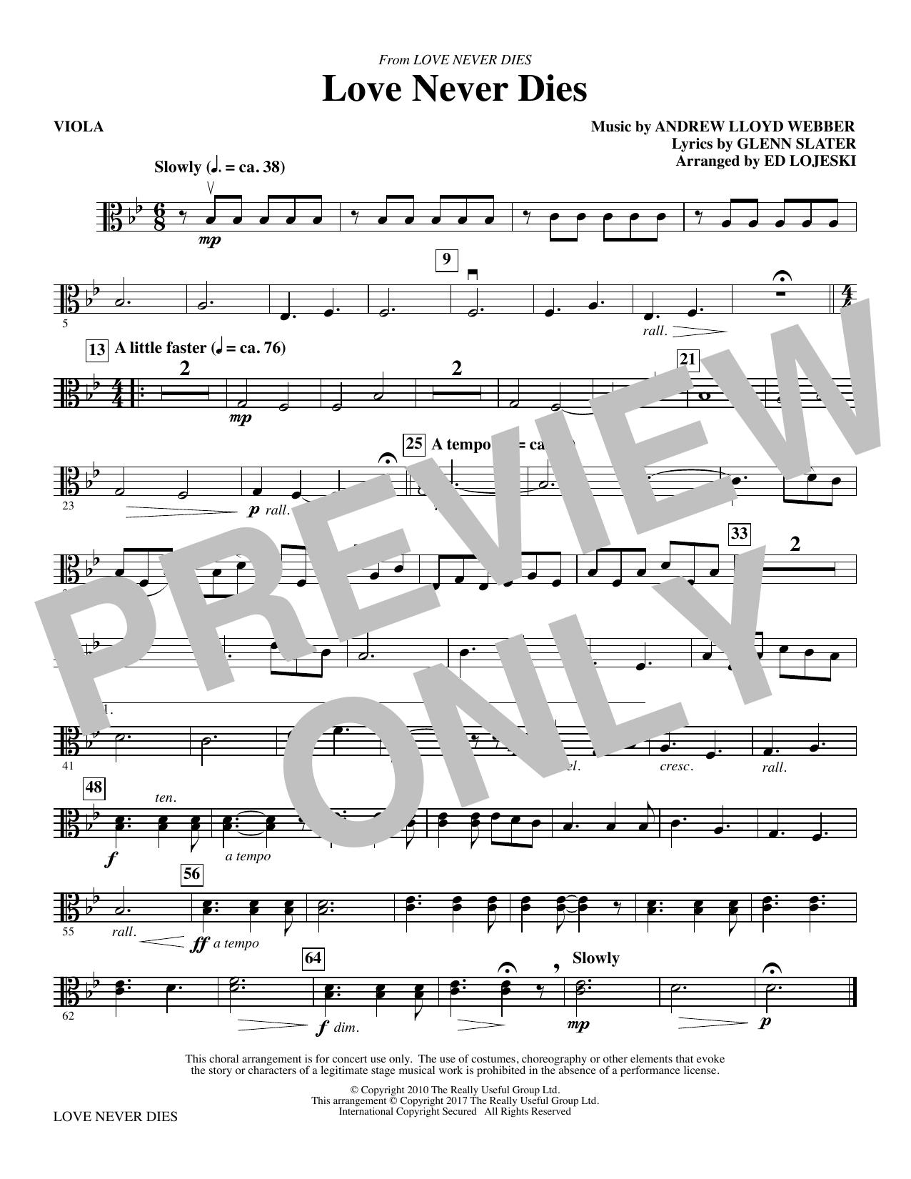 Love Never Dies - Viola (Choir Instrumental Pak)