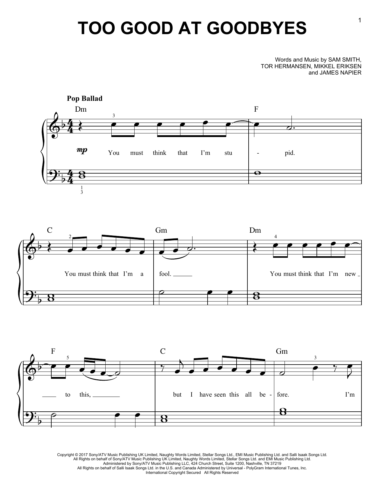 Too Good At Goodbyes (Very Easy Piano)
