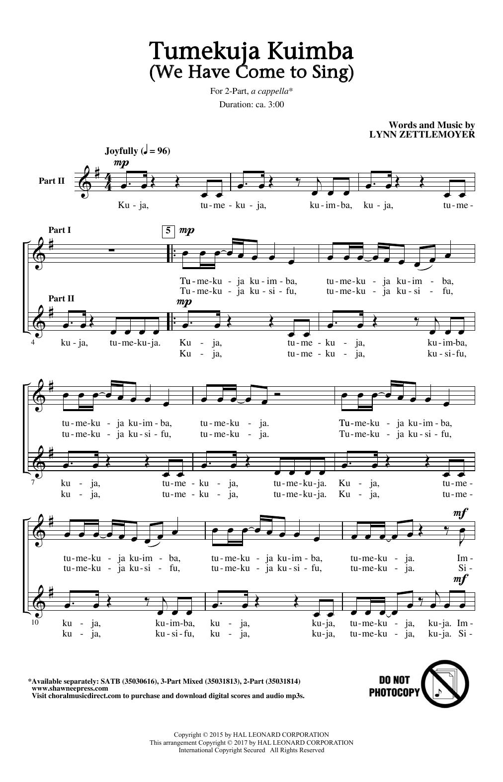 Tumekuja Kuimba (We Have Come To Sing!) Sheet Music