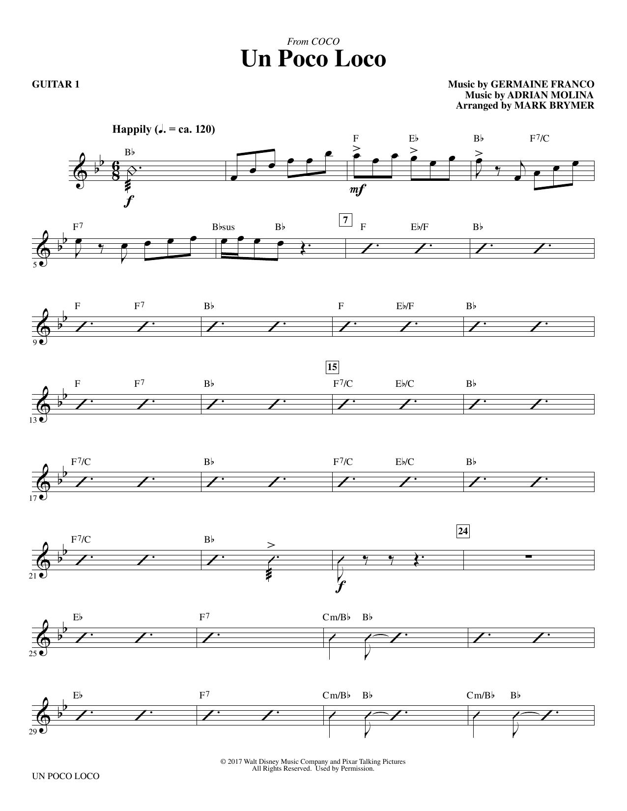 Un Poco Loco (from Coco) (arr. Mark Brymer) - Guitar 1 (Choir Instrumental Pak)