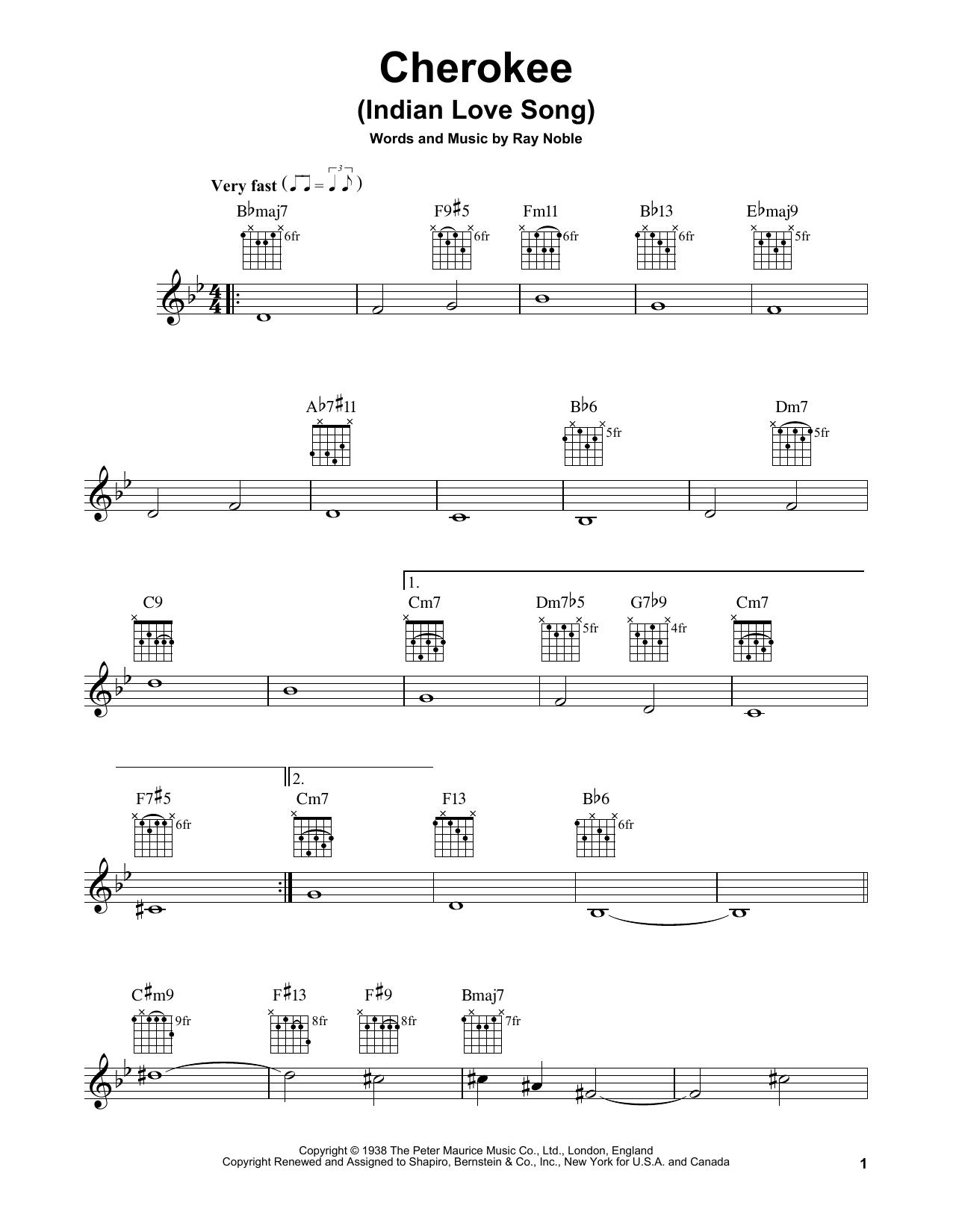 Cherokee (Indian Love Song) (Easy Guitar)