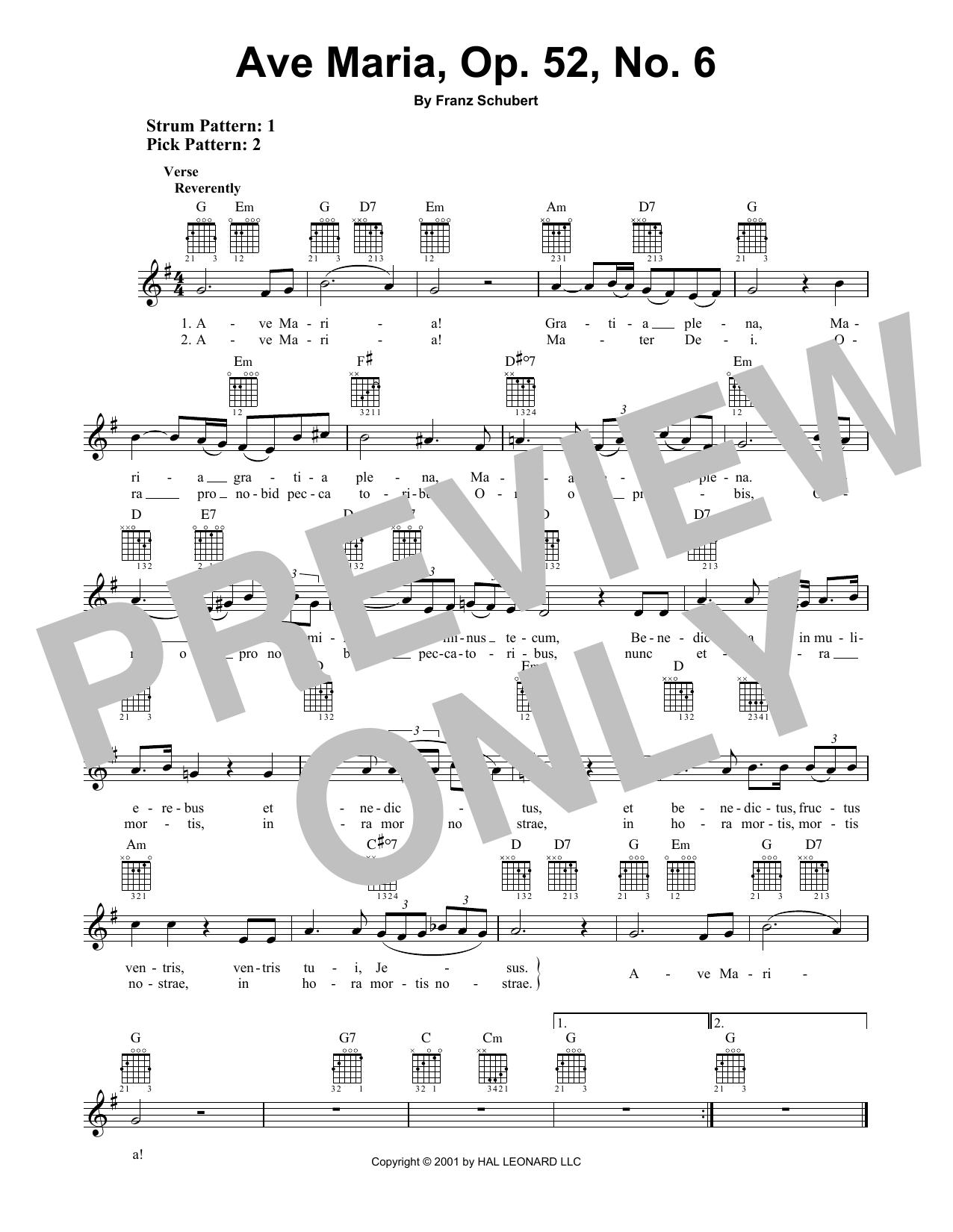 Ave Maria, Op. 52, No. 6 (Easy Guitar)