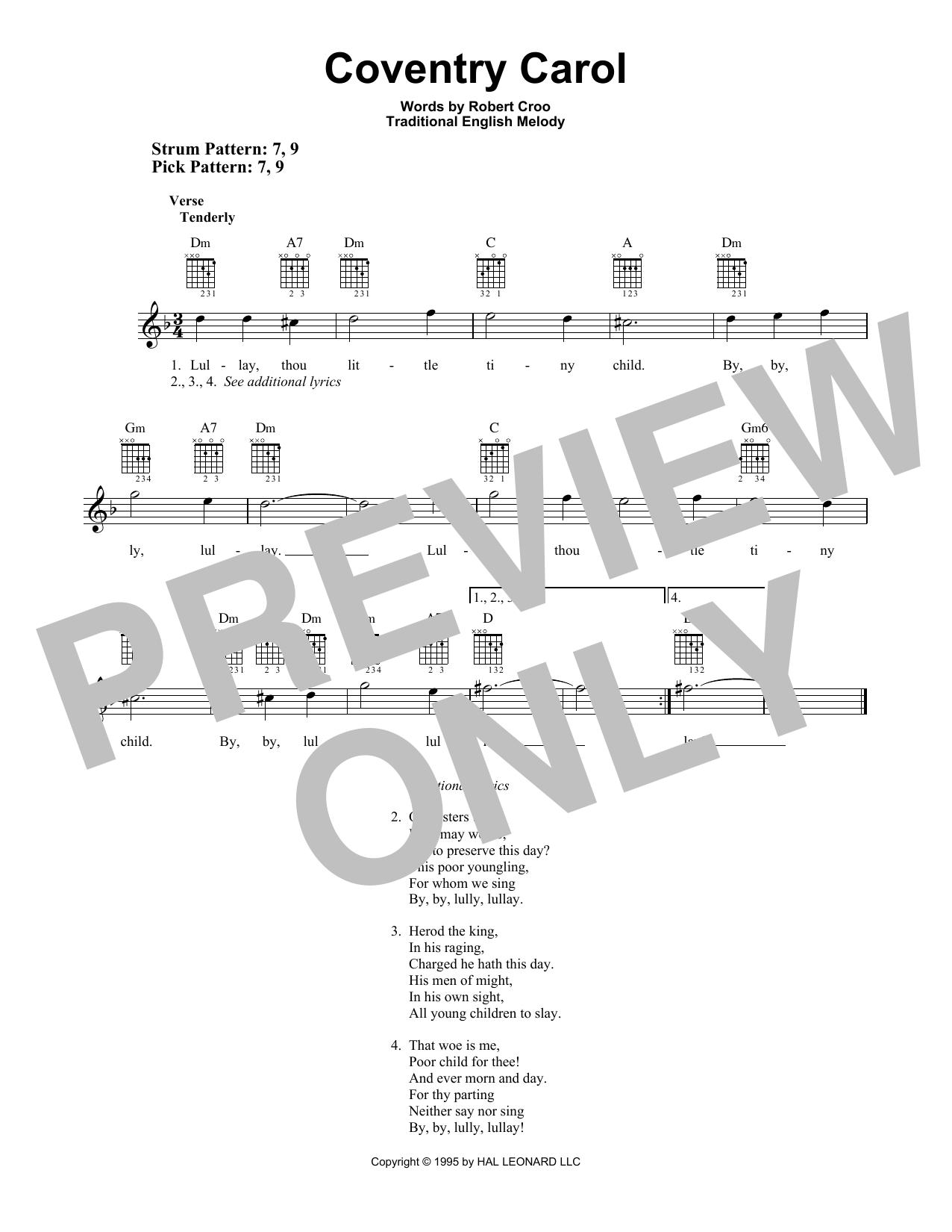Coventry Carol (Easy Guitar)