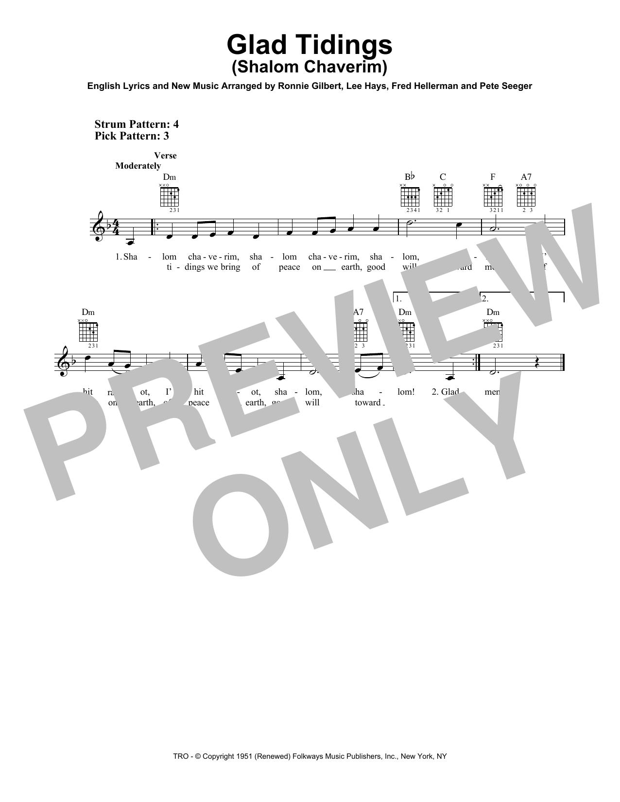 Glad Tidings (Shalom Chaverim) (Easy Guitar)