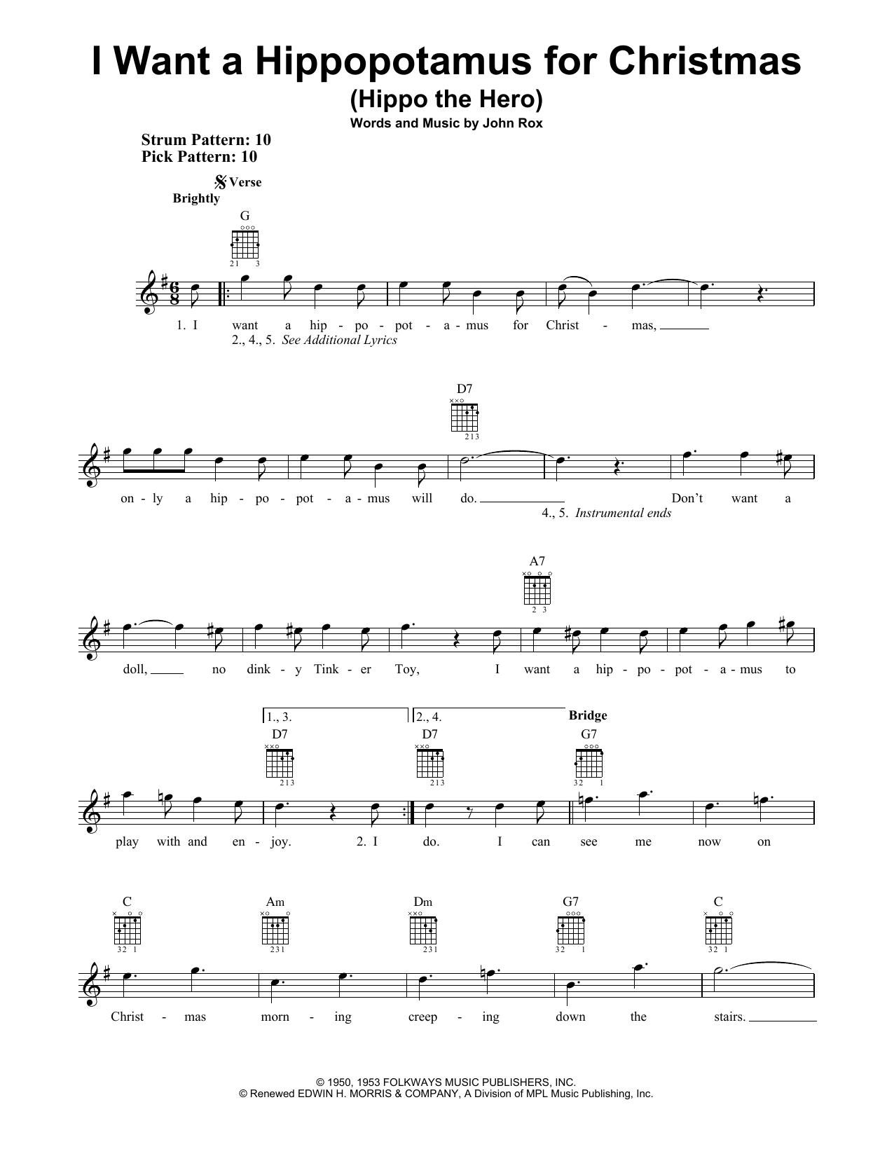 I Want A Hippopotamus For Christmas Sheet Music.Sheet Music Digital Files To Print Licensed John Rox