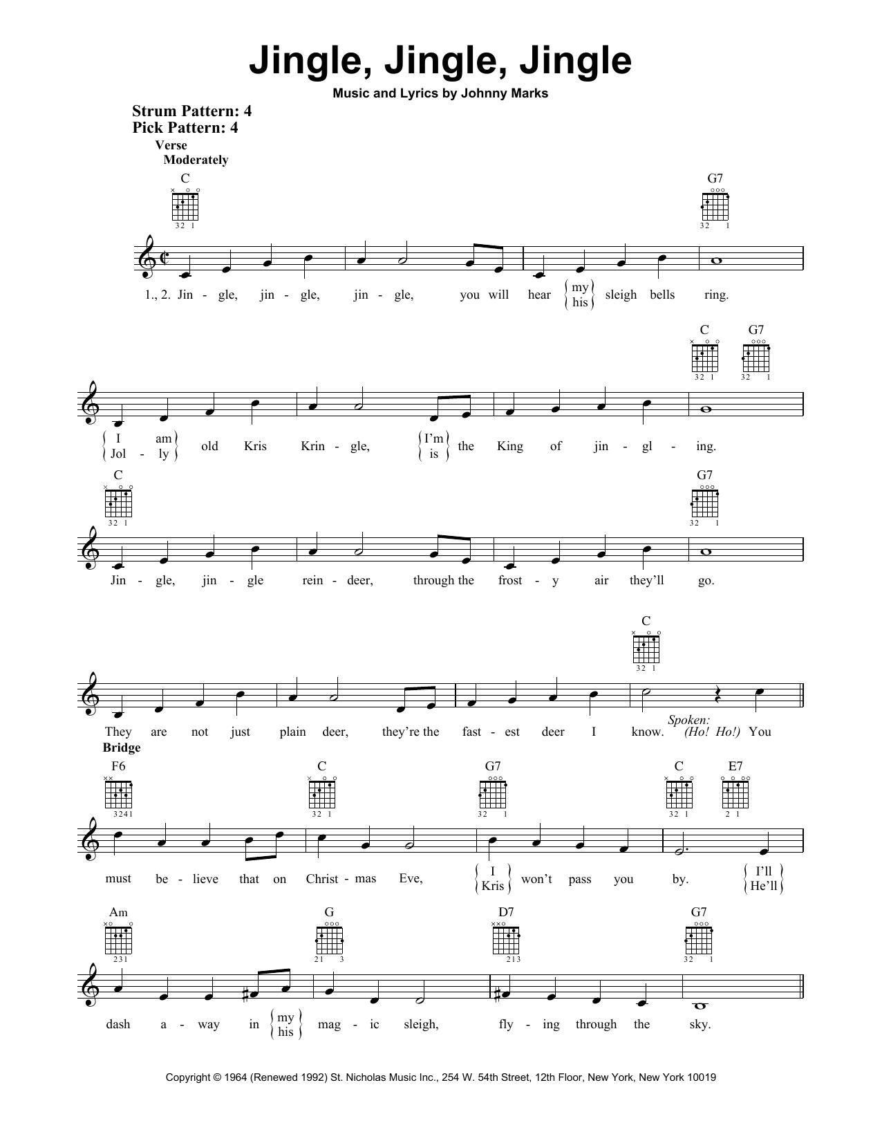 Jingle, Jingle, Jingle (Easy Guitar)