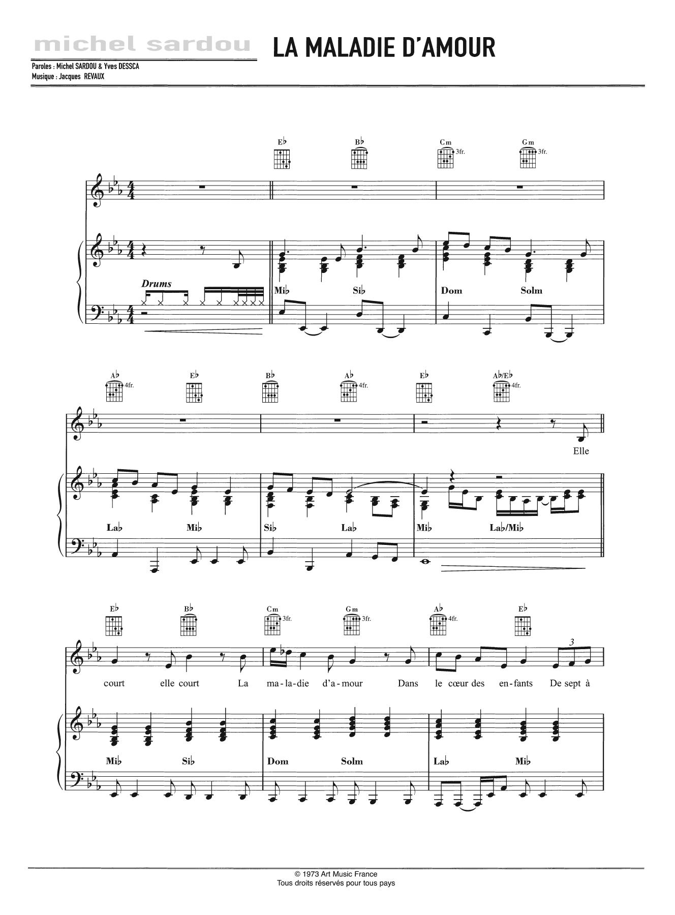 La Maladie D'Amour Sheet Music