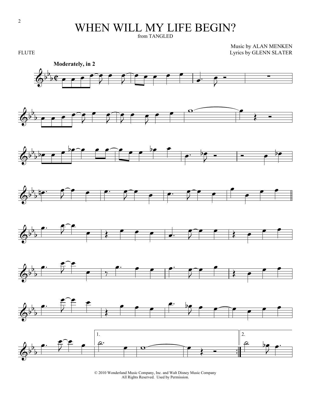 When Will My Life Begin? (from Disney's Tangled) (Flute Solo)