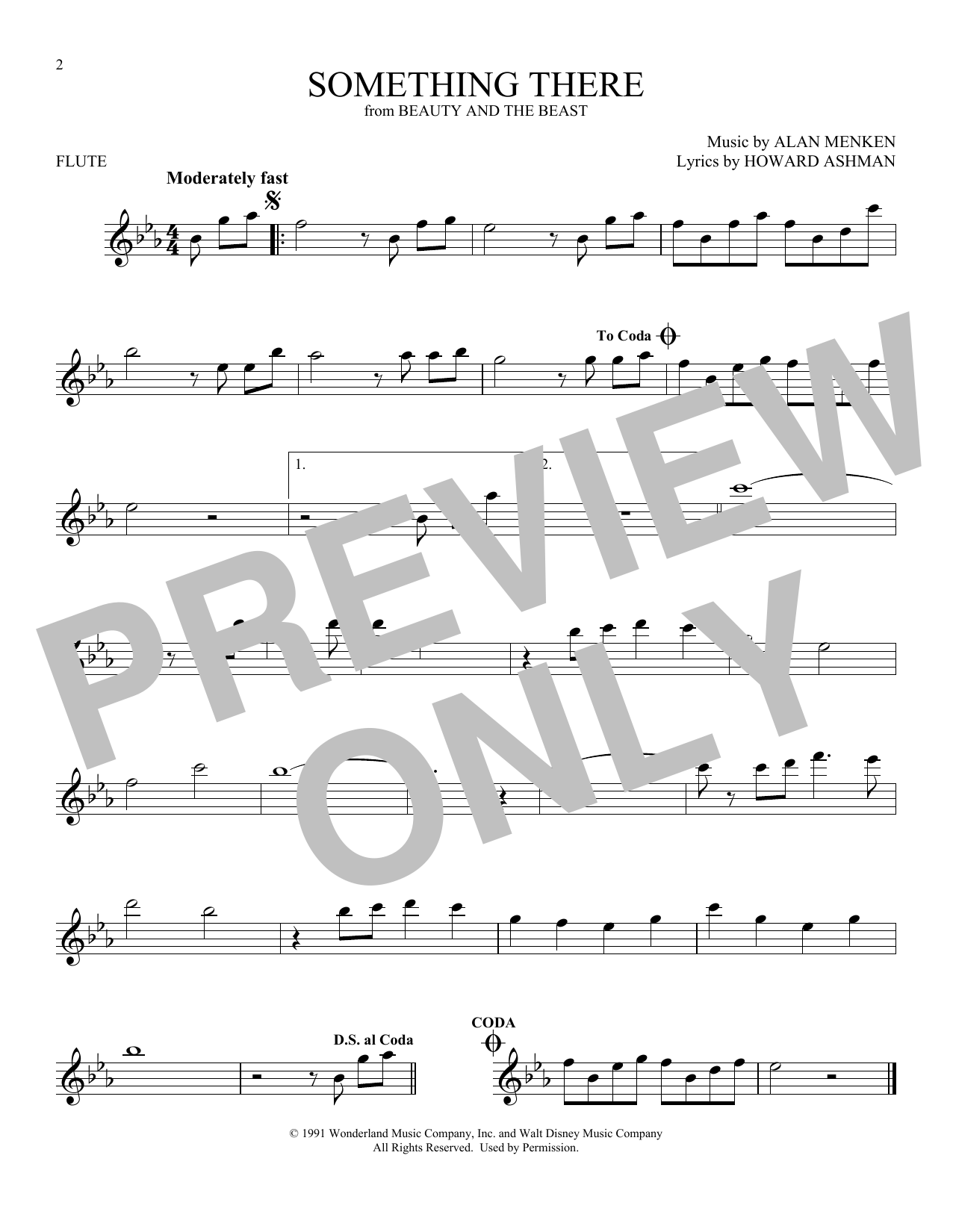 Something There (from Beauty And The Beast) (Flute Solo)
