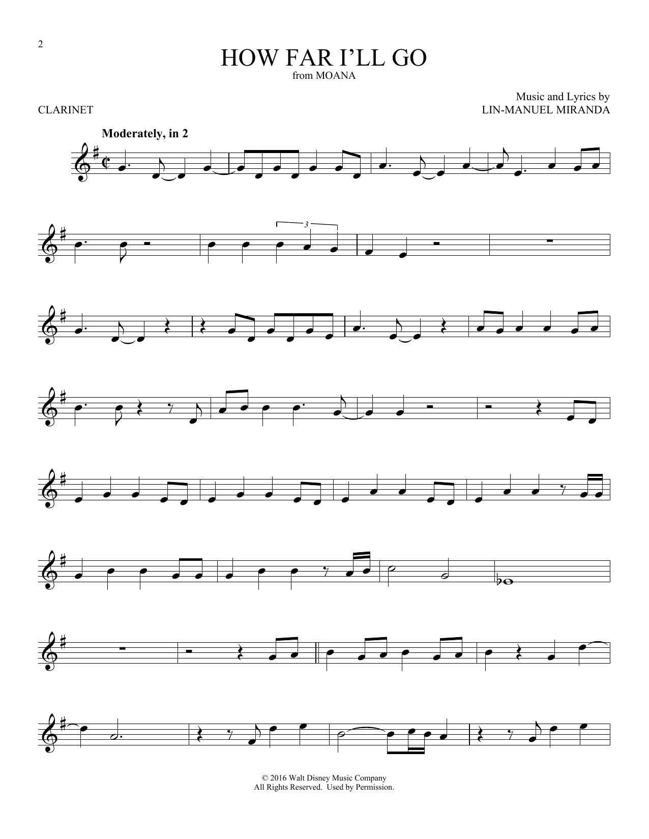 How Far I'll Go (Clarinet Solo)