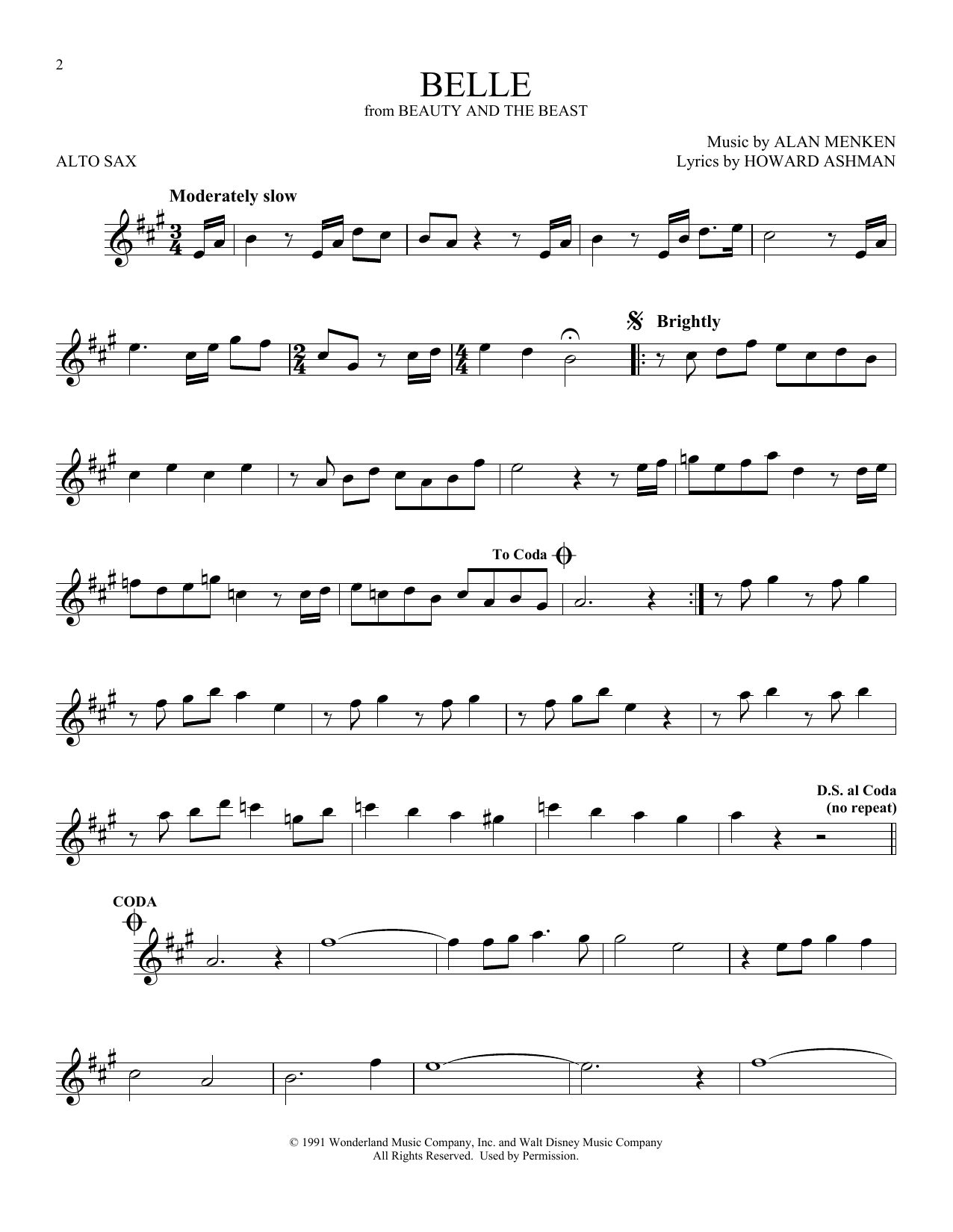 Belle (from Beauty And The Beast) (Alto Sax Solo)
