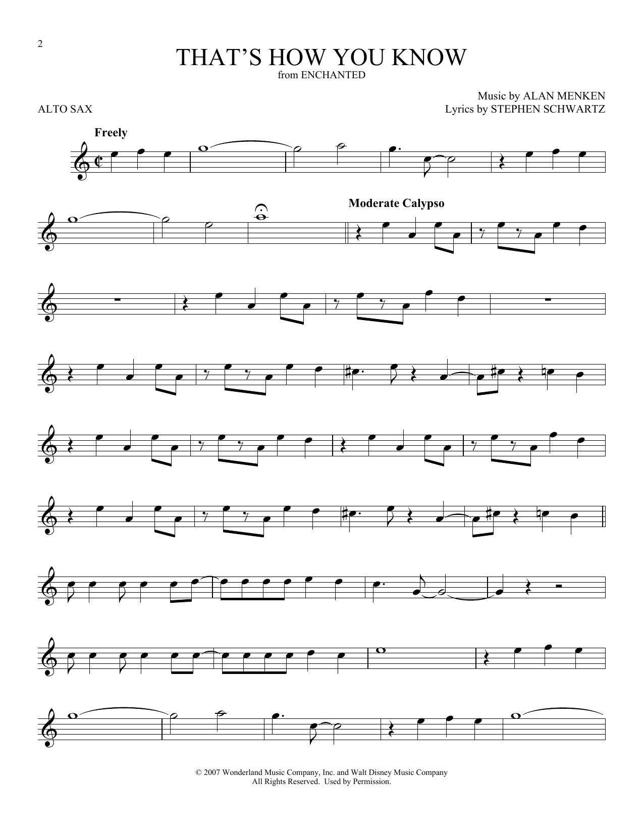 That's How You Know (from Enchanted) (Alto Sax Solo)