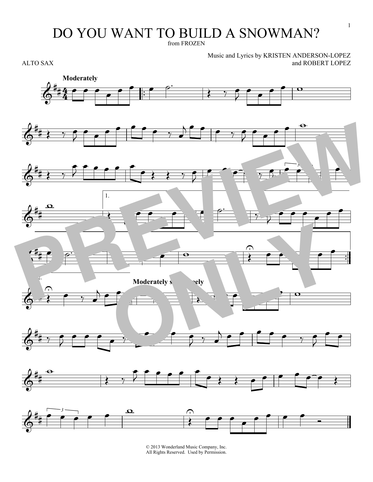 Do You Want To Build A Snowman? (from Disney's Frozen) (Alto Sax Solo)