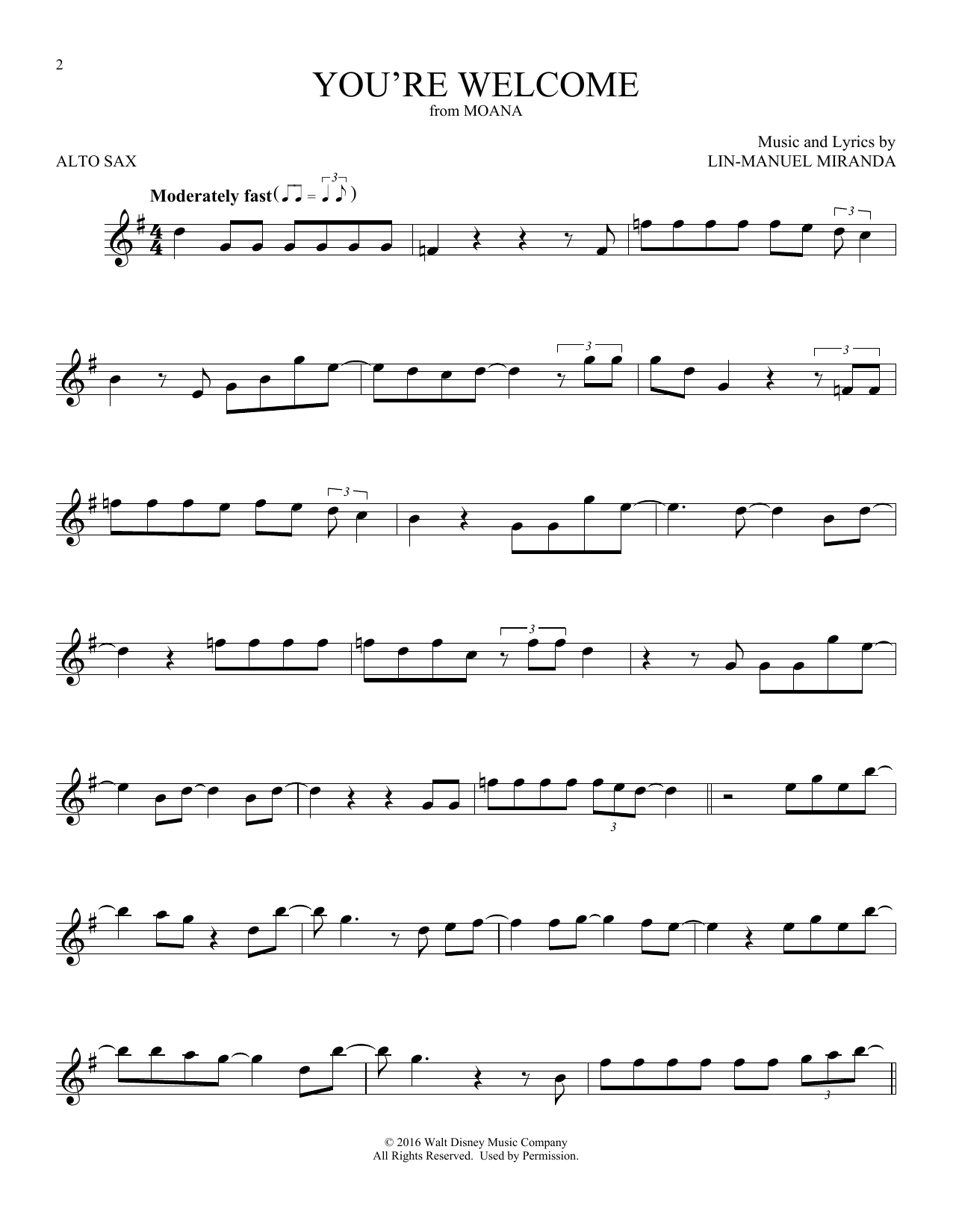 You're Welcome (from Moana) (Alto Sax Solo)