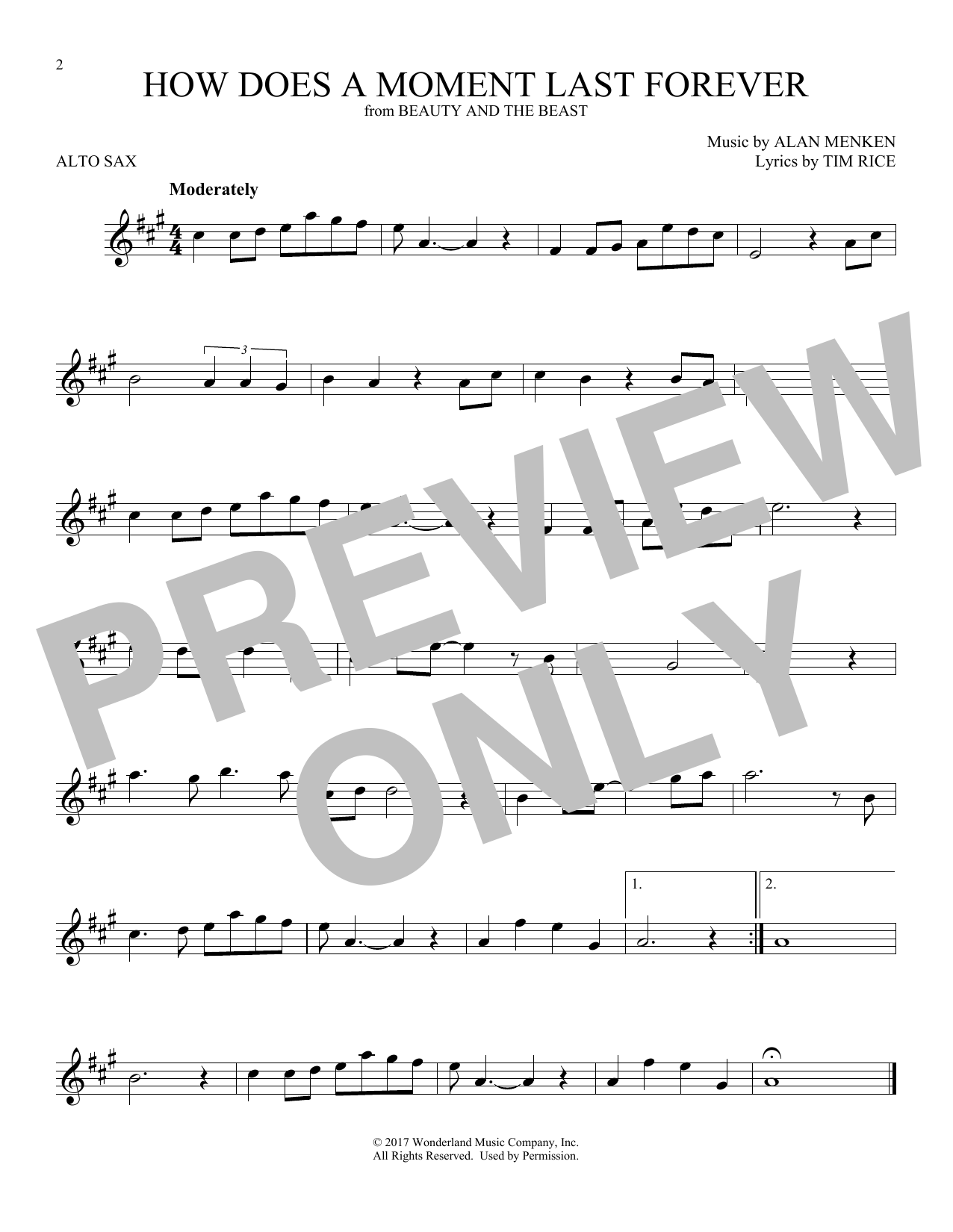 How Does A Moment Last Forever (Alto Sax Solo)