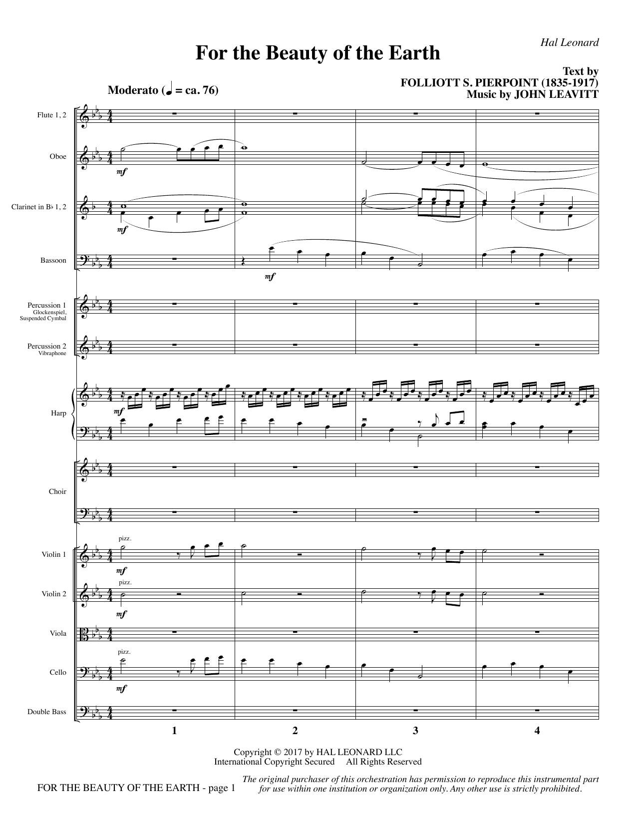 For the Beauty of the Earth - Full Score (Choir Instrumental Pak)