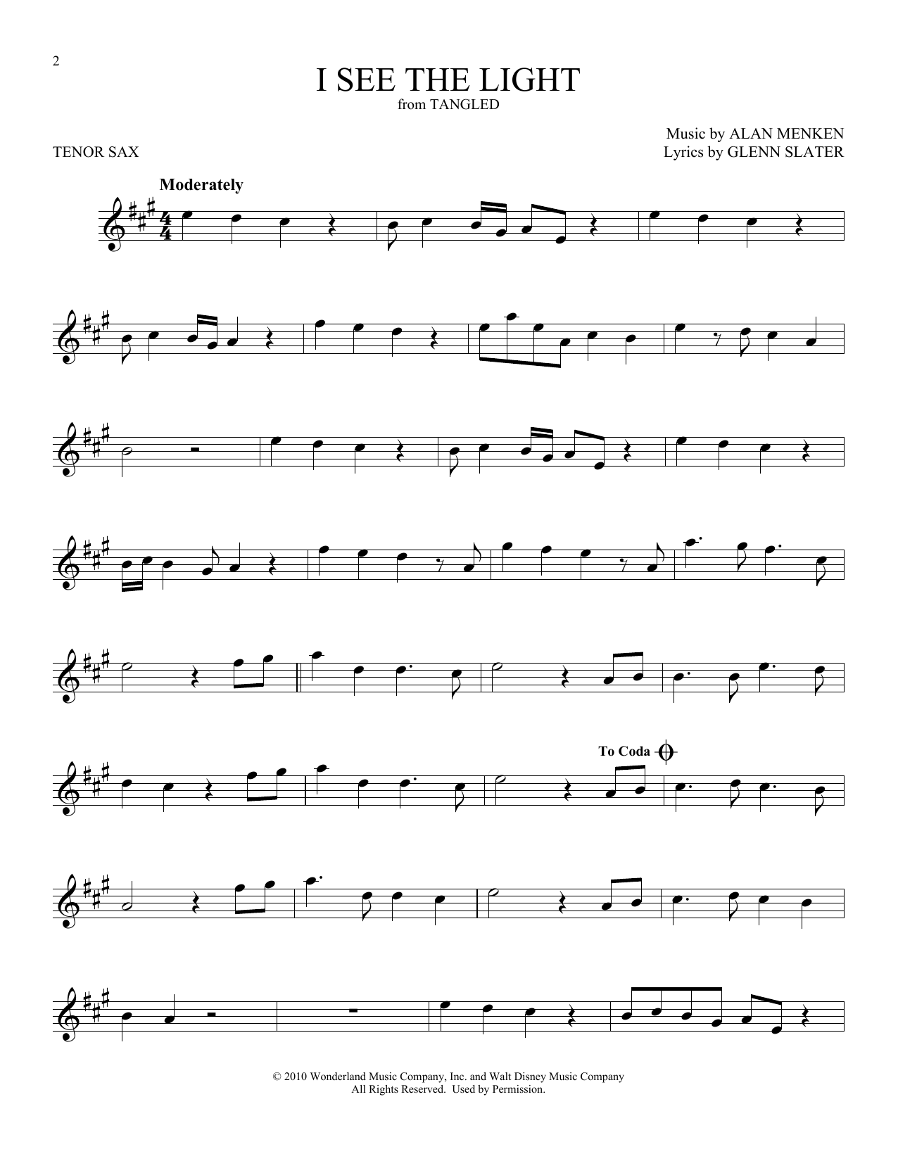 I See The Light (from Disney's Tangled) (Tenor Sax Solo)