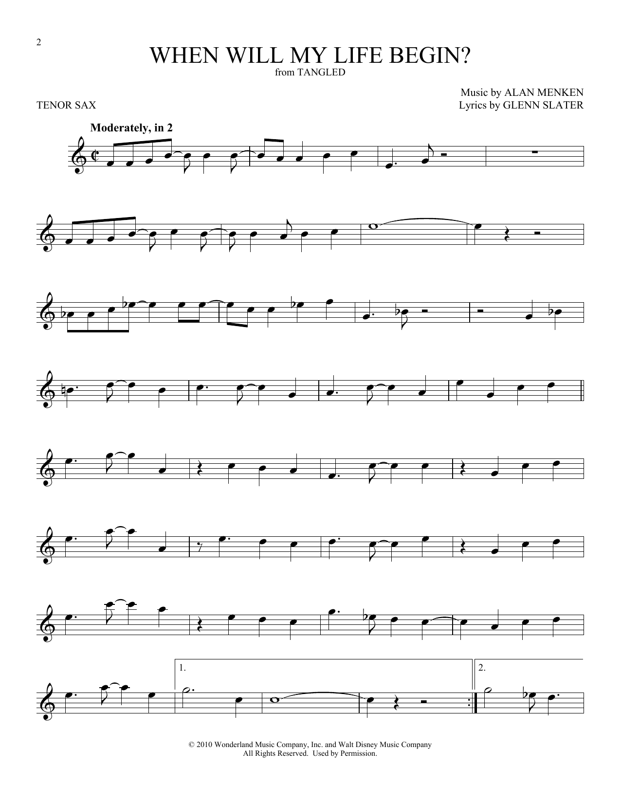 When Will My Life Begin? (from Disney's Tangled) (Tenor Sax Solo)