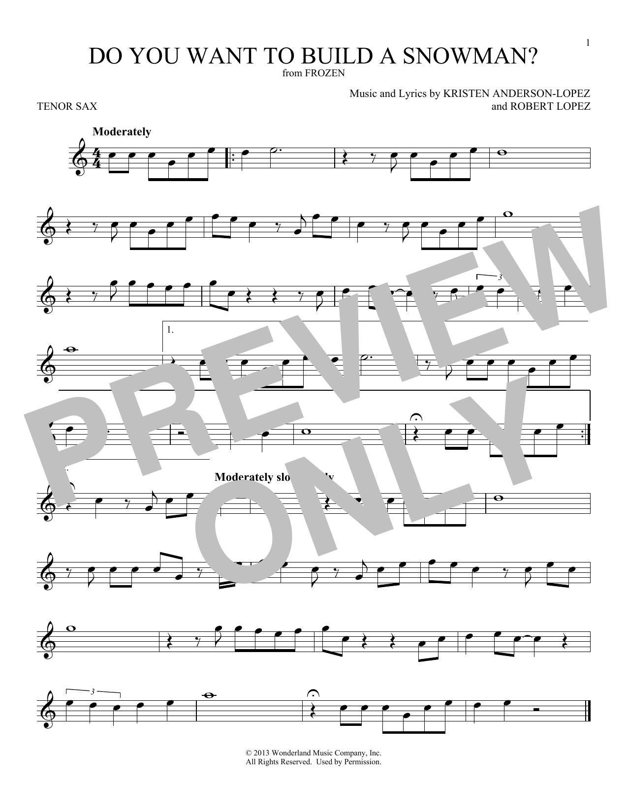 Do You Want To Build A Snowman? (from Disney's Frozen) (Tenor Sax Solo)