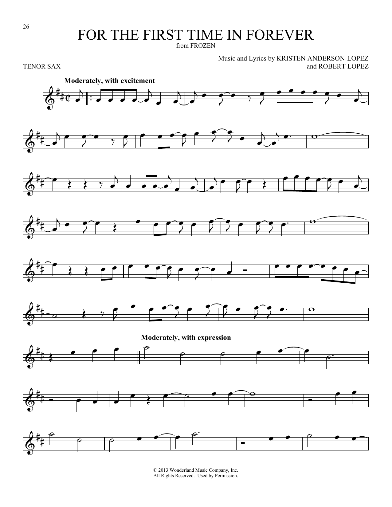 For The First Time In Forever (from Disney's Frozen) (Tenor Sax Solo)