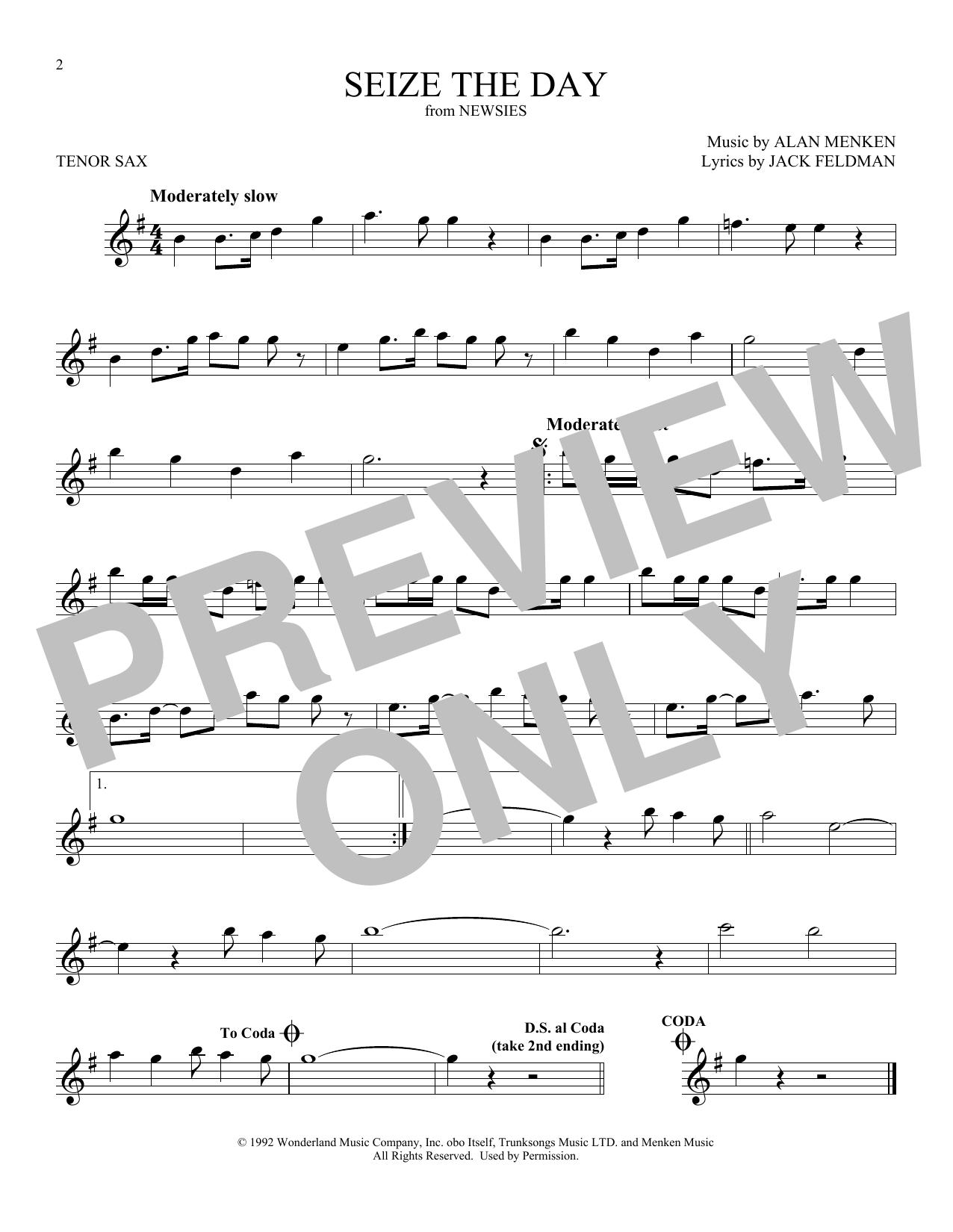 Seize The Day (from Newsies) (Tenor Sax Solo)