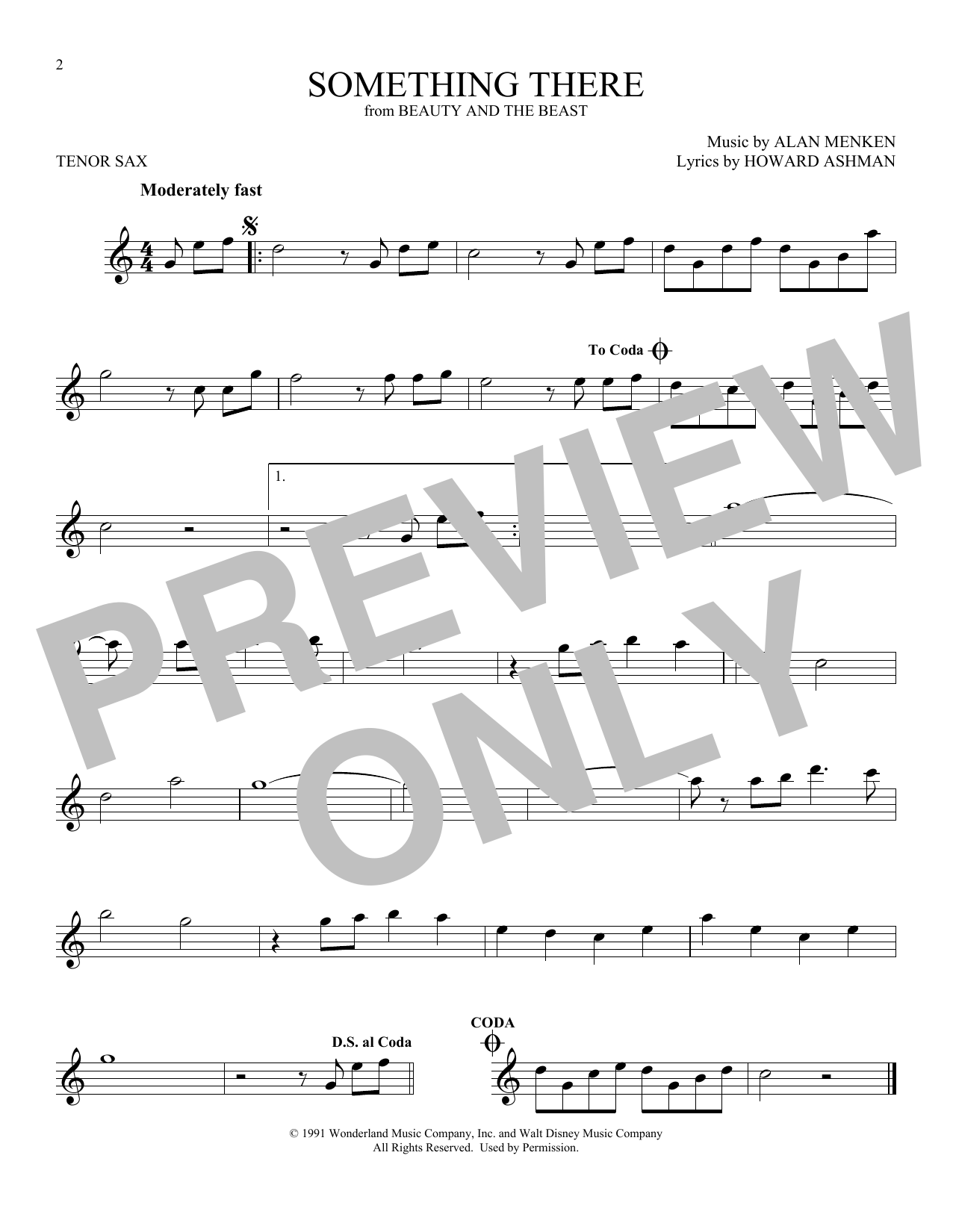 Something There (from Beauty And The Beast) (Tenor Sax Solo)