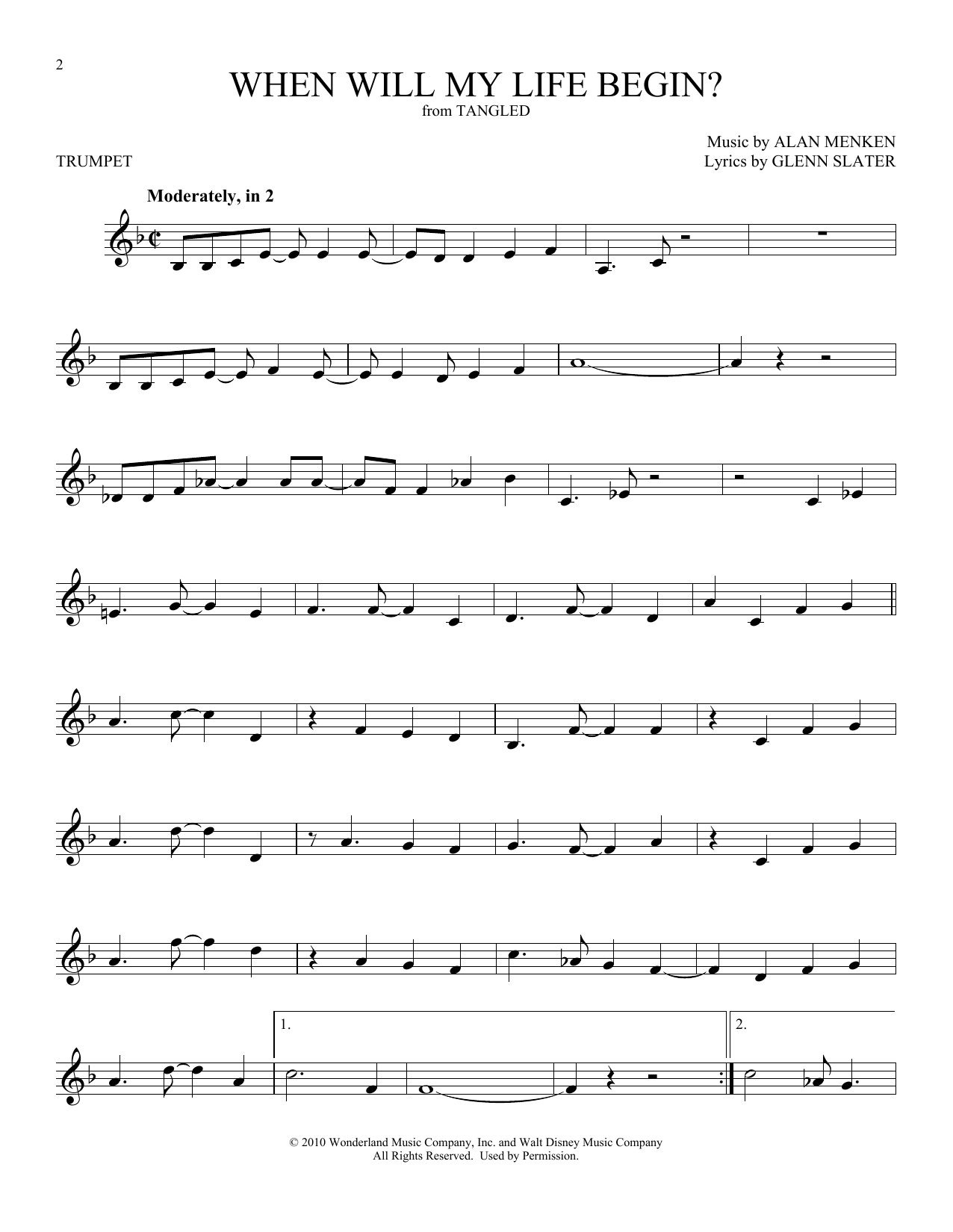 When Will My Life Begin? (from Disney's Tangled) (Trumpet Solo)