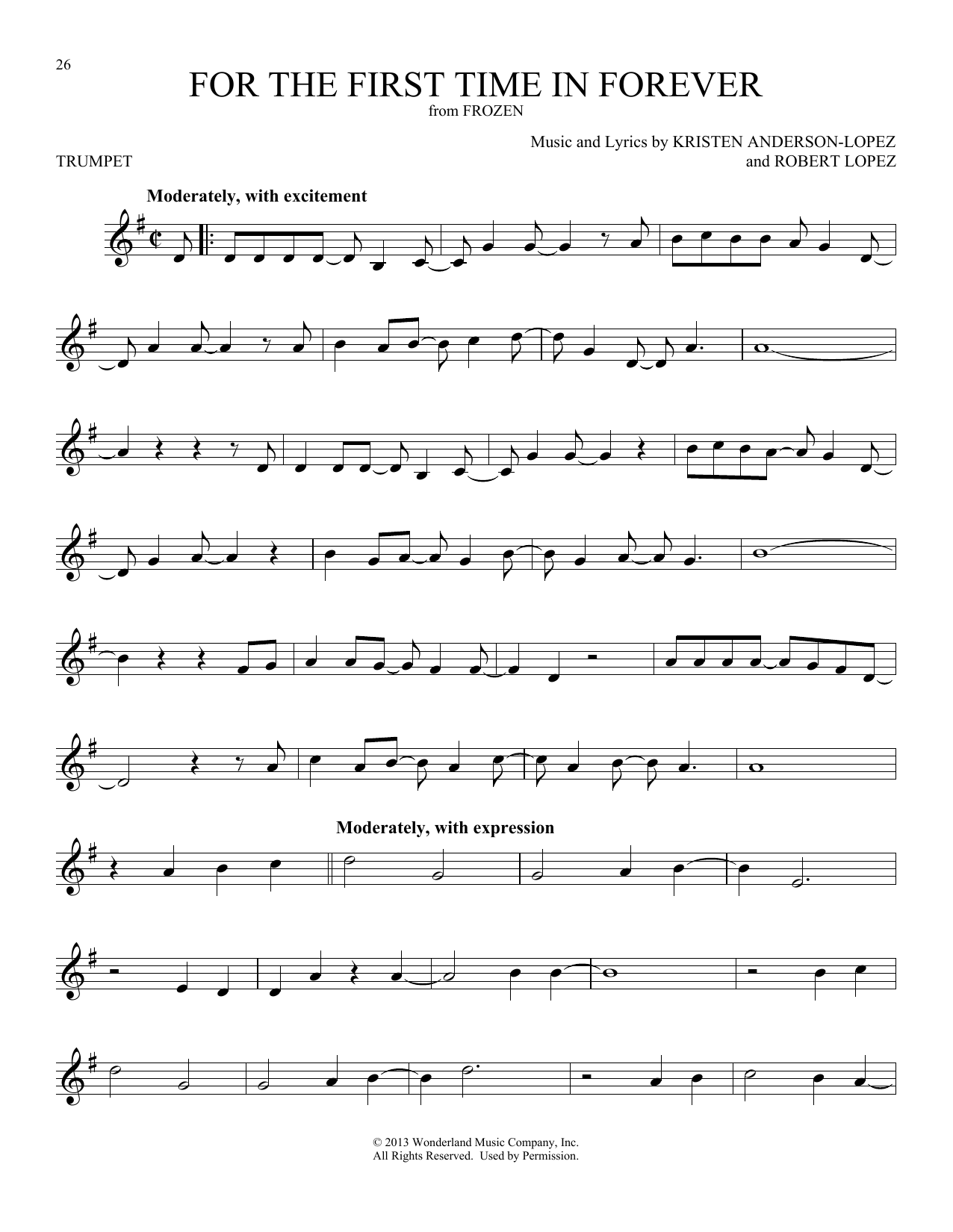 For The First Time In Forever (from Disney's Frozen) (Trumpet Solo)